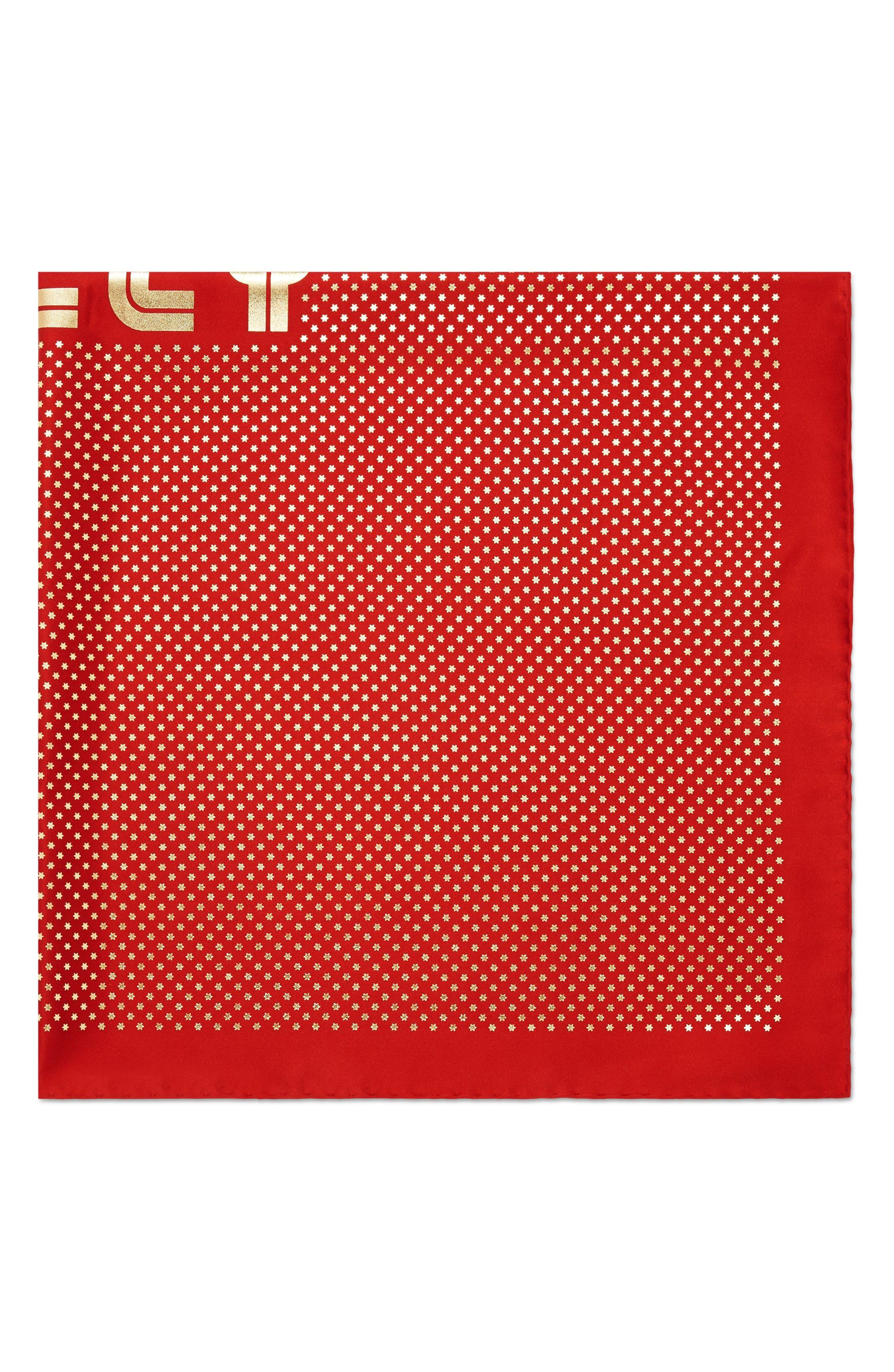 Guccy Star Foulard Silk Twill Scarf,                             Alternate thumbnail 2, color,                             001