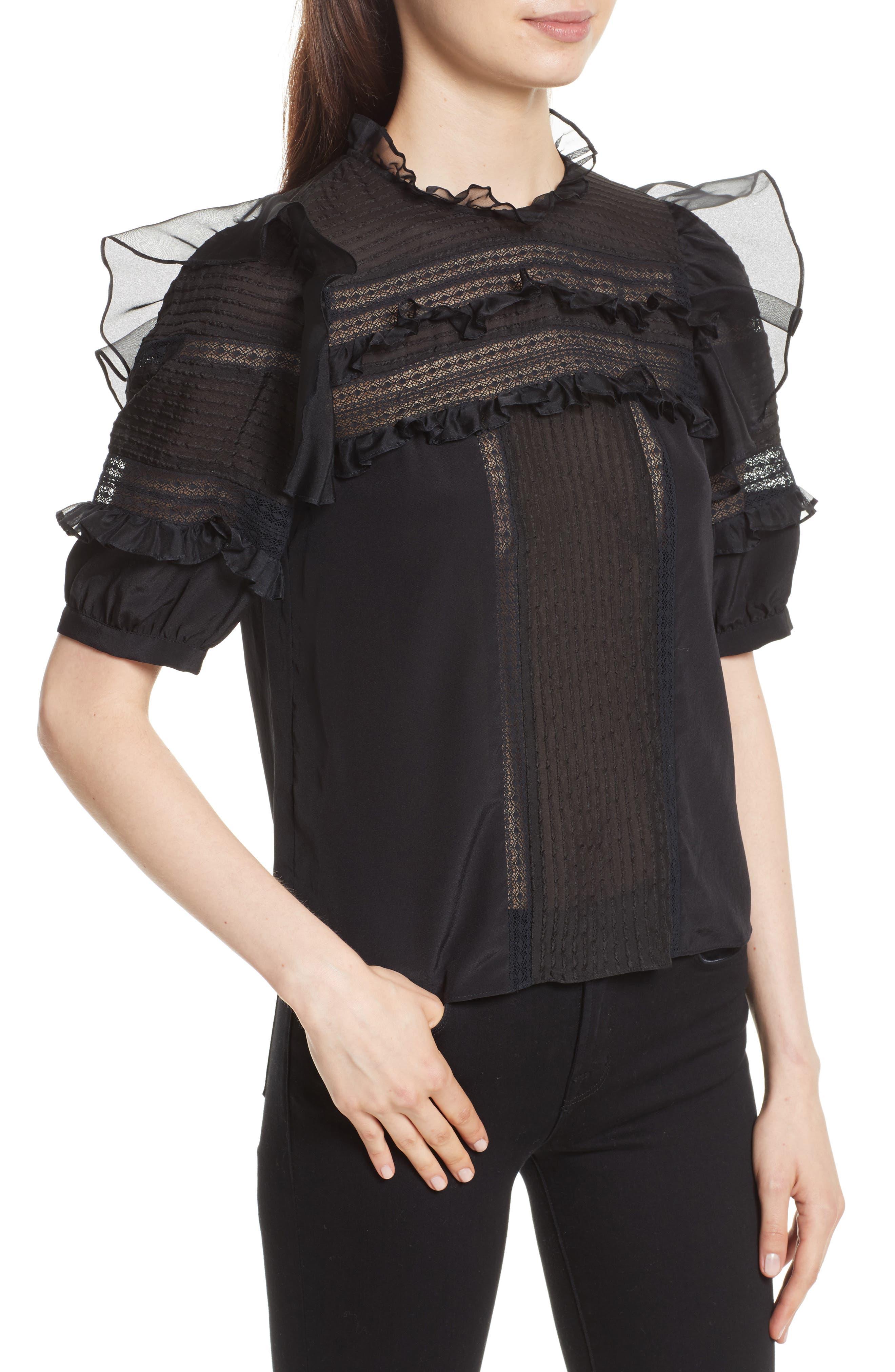 Lace Trim Silk Blouse,                             Alternate thumbnail 4, color,                             001