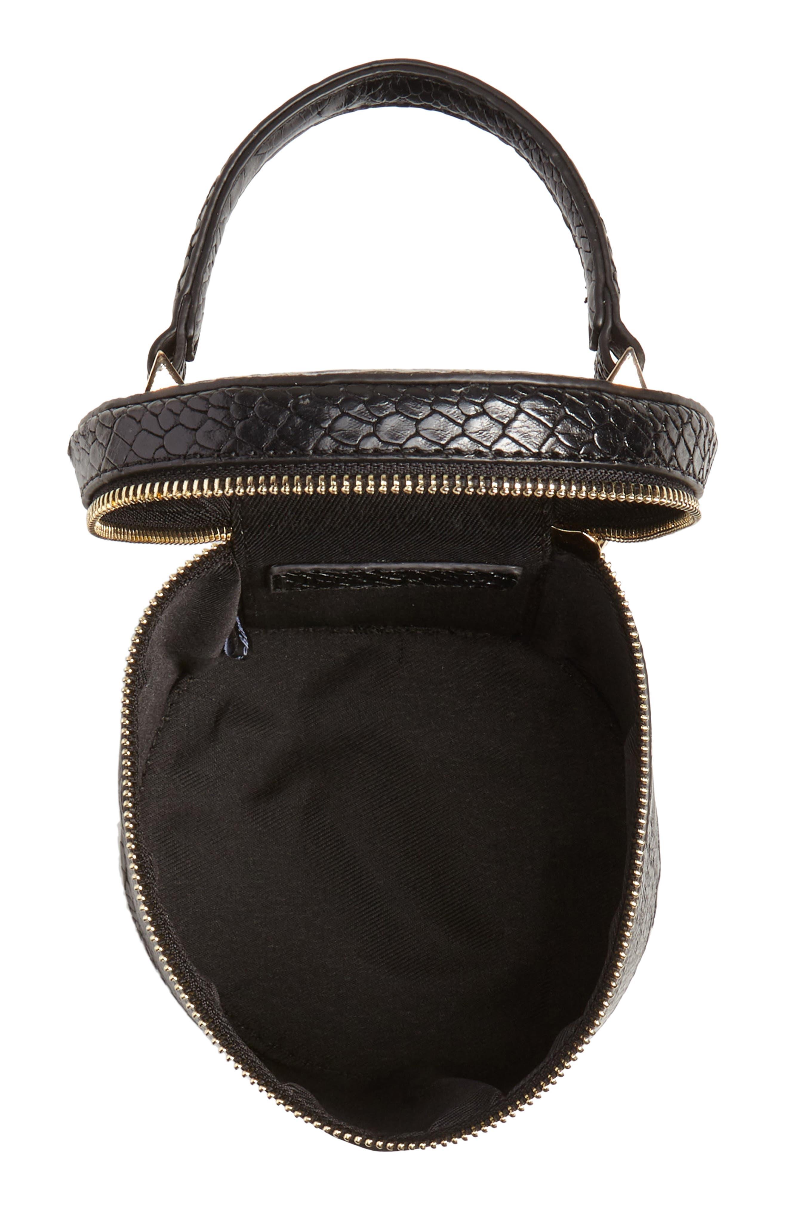 Marion Snake Embossed Bucket Bag,                             Alternate thumbnail 4, color,                             001