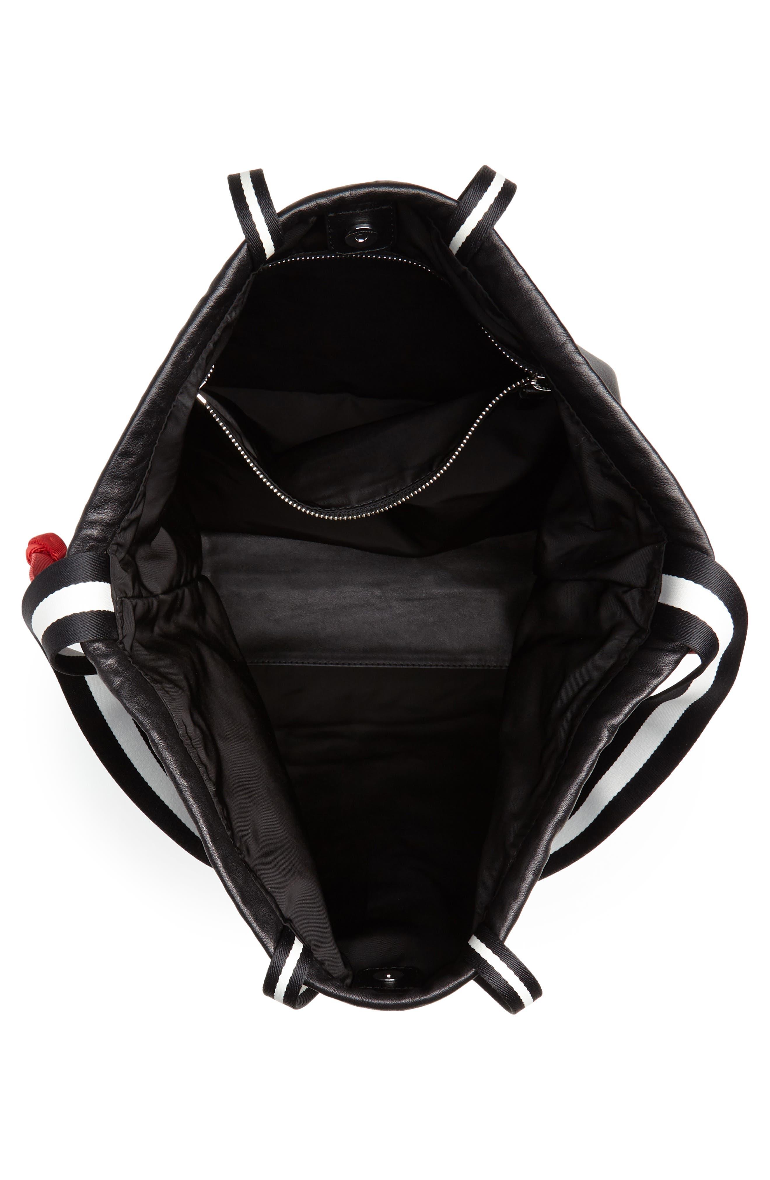 Wefty Drawstring Bucket Bag,                             Alternate thumbnail 4, color,                             BLACK