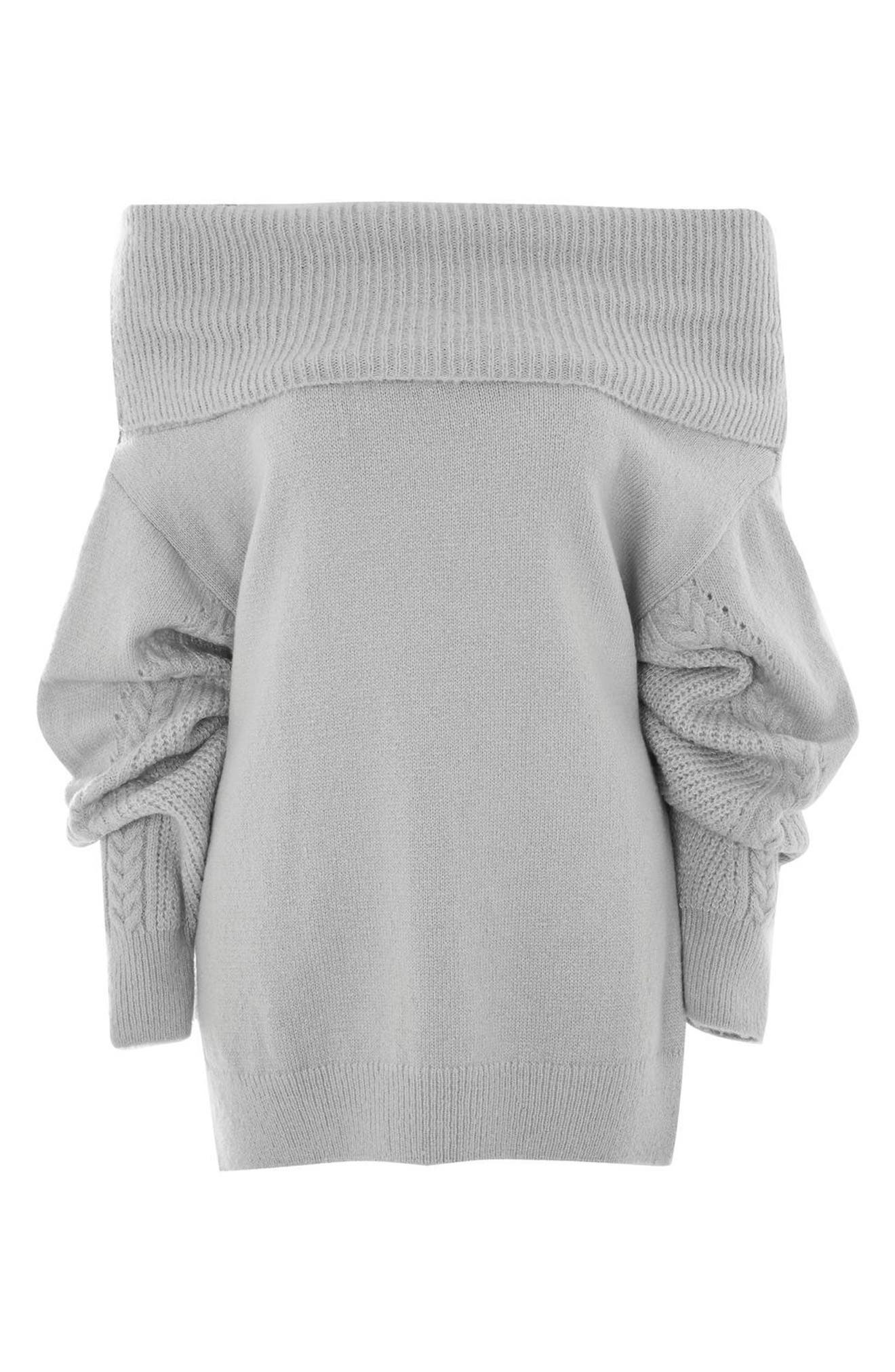 Cable Sleeve Cowl Neck Sweater,                             Alternate thumbnail 4, color,                             050