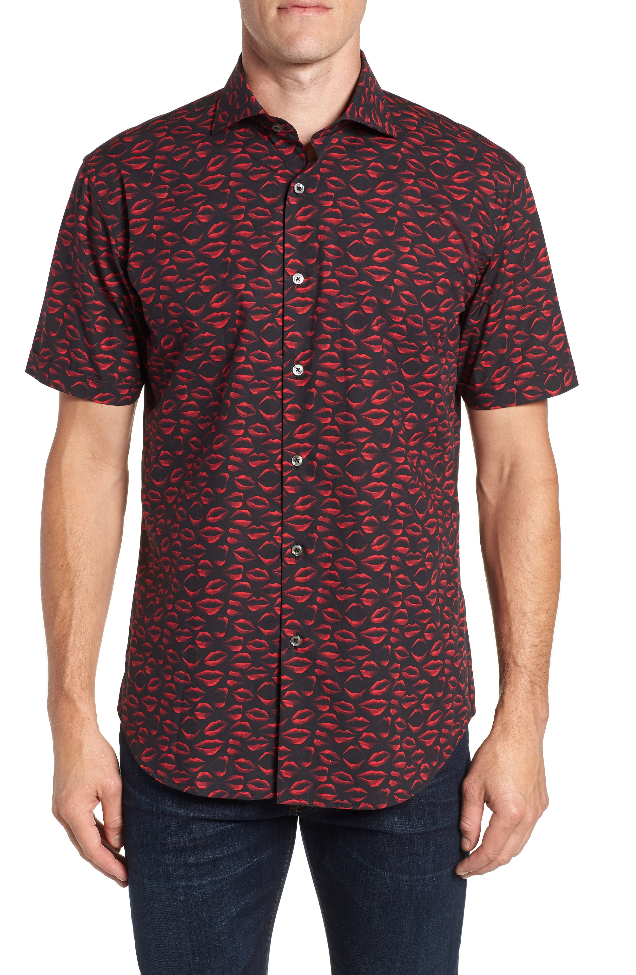 men's bugatchi shaped fit print sport shirt, size small - red