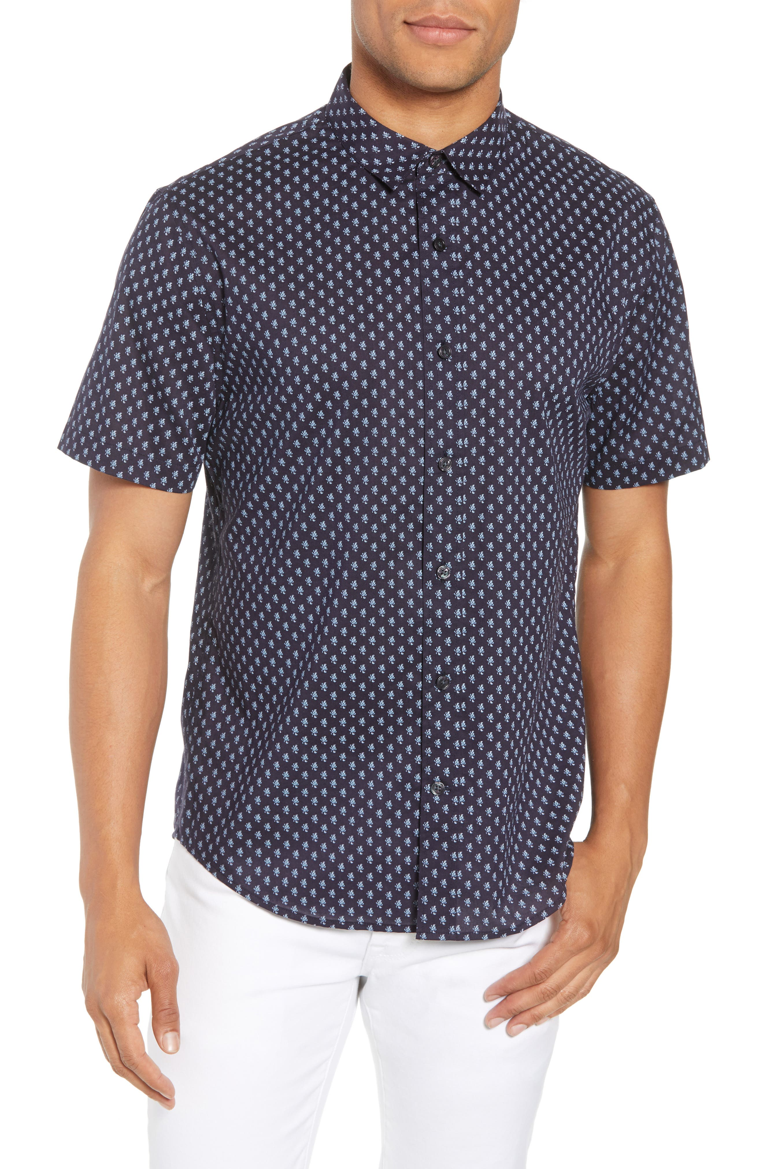 Classic Fit Print Short Sleeve Sport Shirt,                         Main,                         color, NEW COASTAL