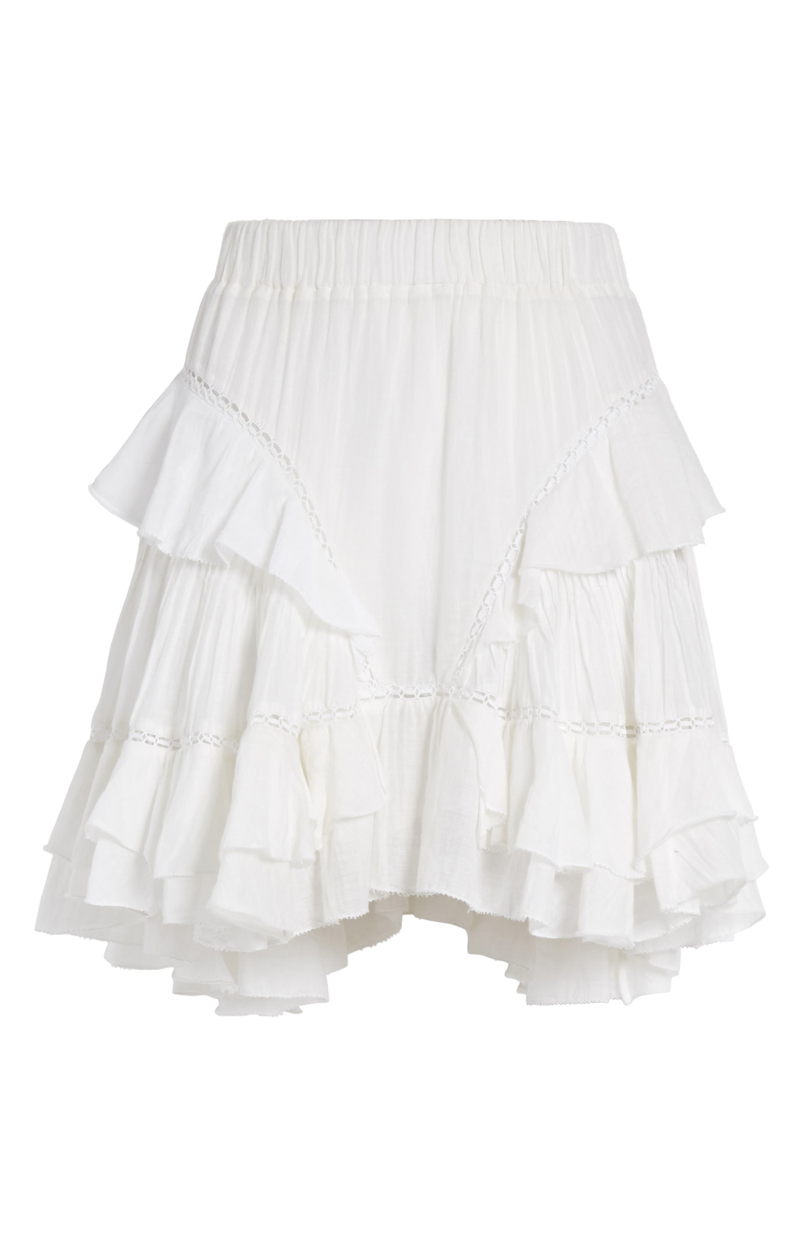 Isabel Marant Étoile Varese Ruffle Skirt,                             Alternate thumbnail 6, color,                             100