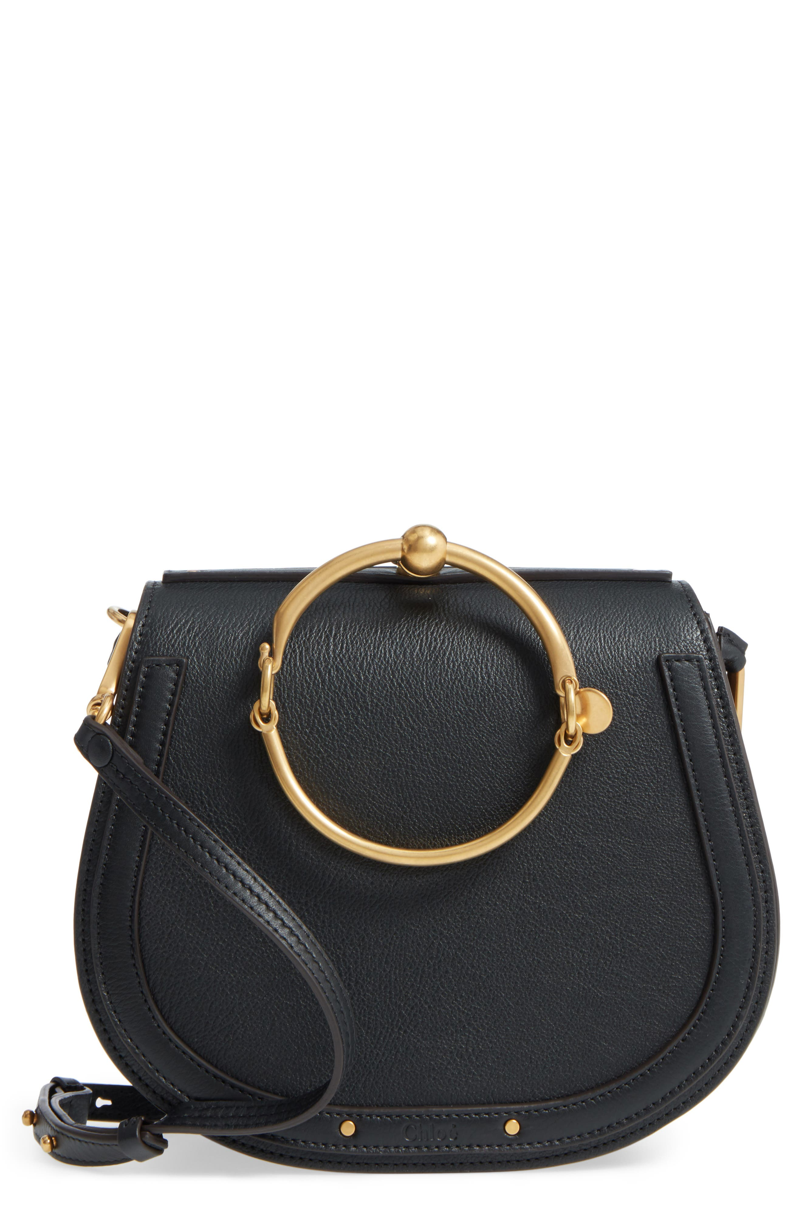 Medium Nile Leather Bracelet Saddle Bag,                         Main,                         color, 001NR001 BLACK