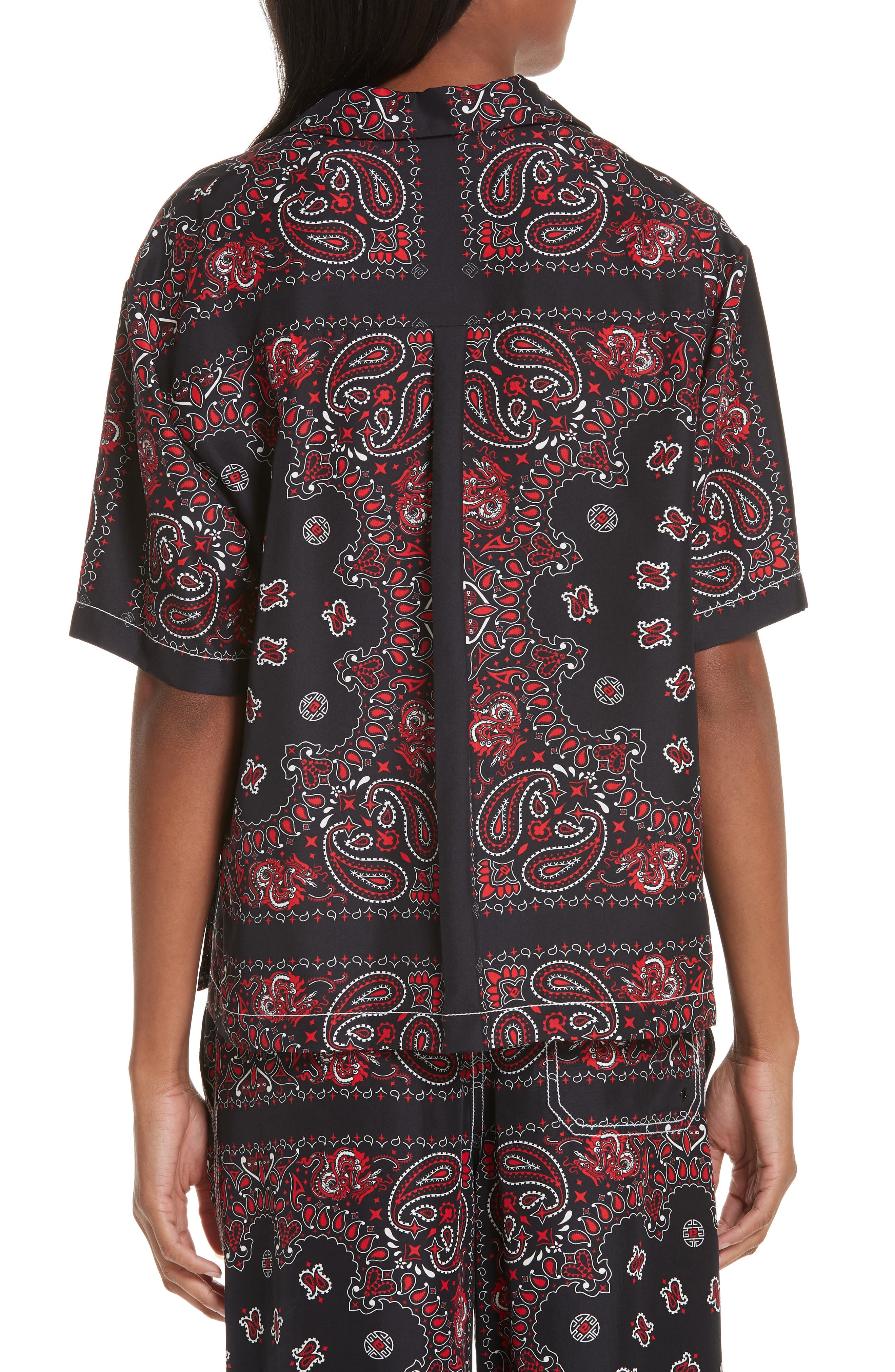 ALEXANDER WANG,                             Bandana Print Silk Shirt,                             Alternate thumbnail 2, color,                             BLACK/ RED