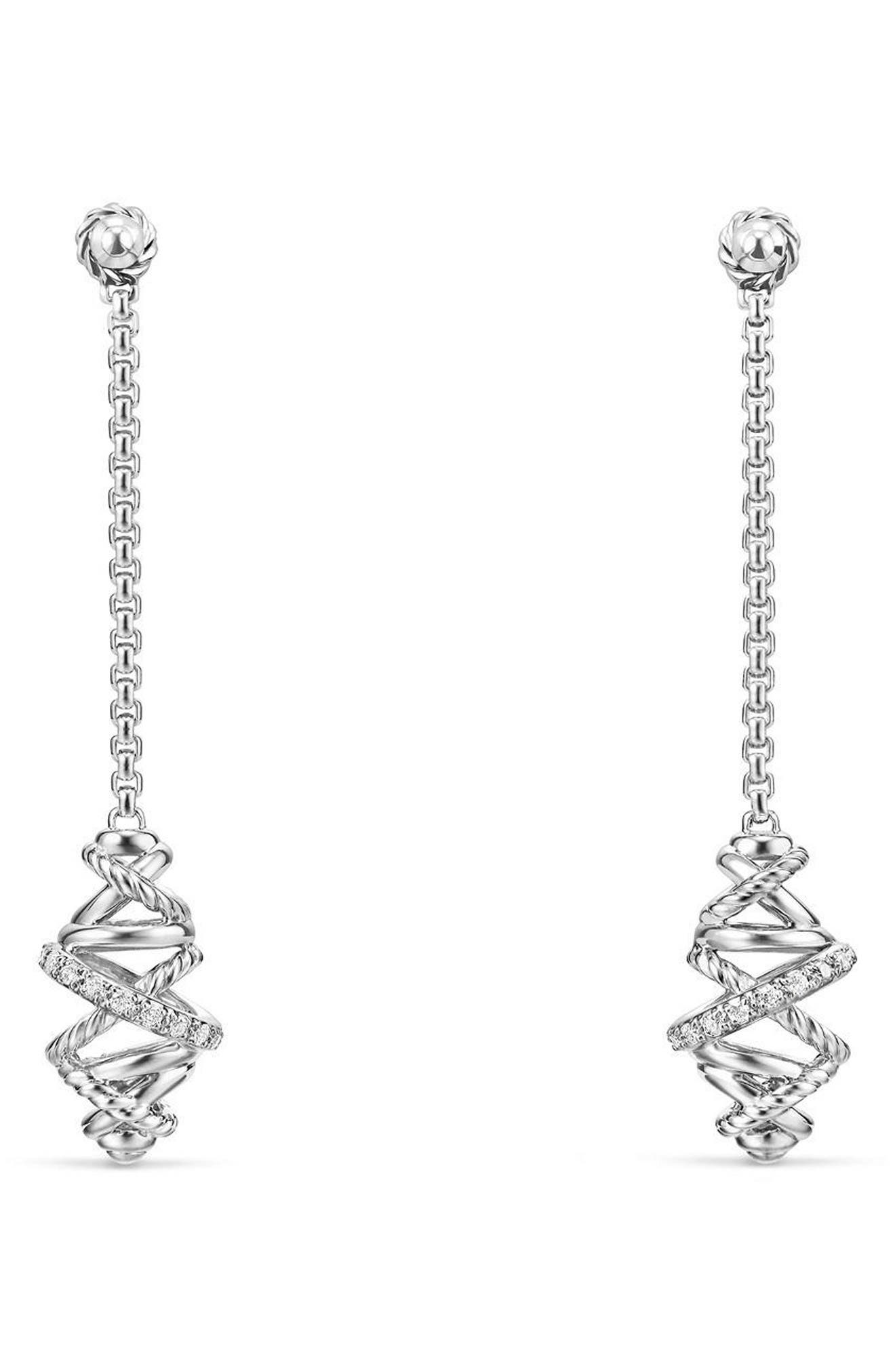 DAVID YURMAN,                             Crossover Chain Drop Earrings with Diamonds,                             Main thumbnail 1, color,                             SILVER