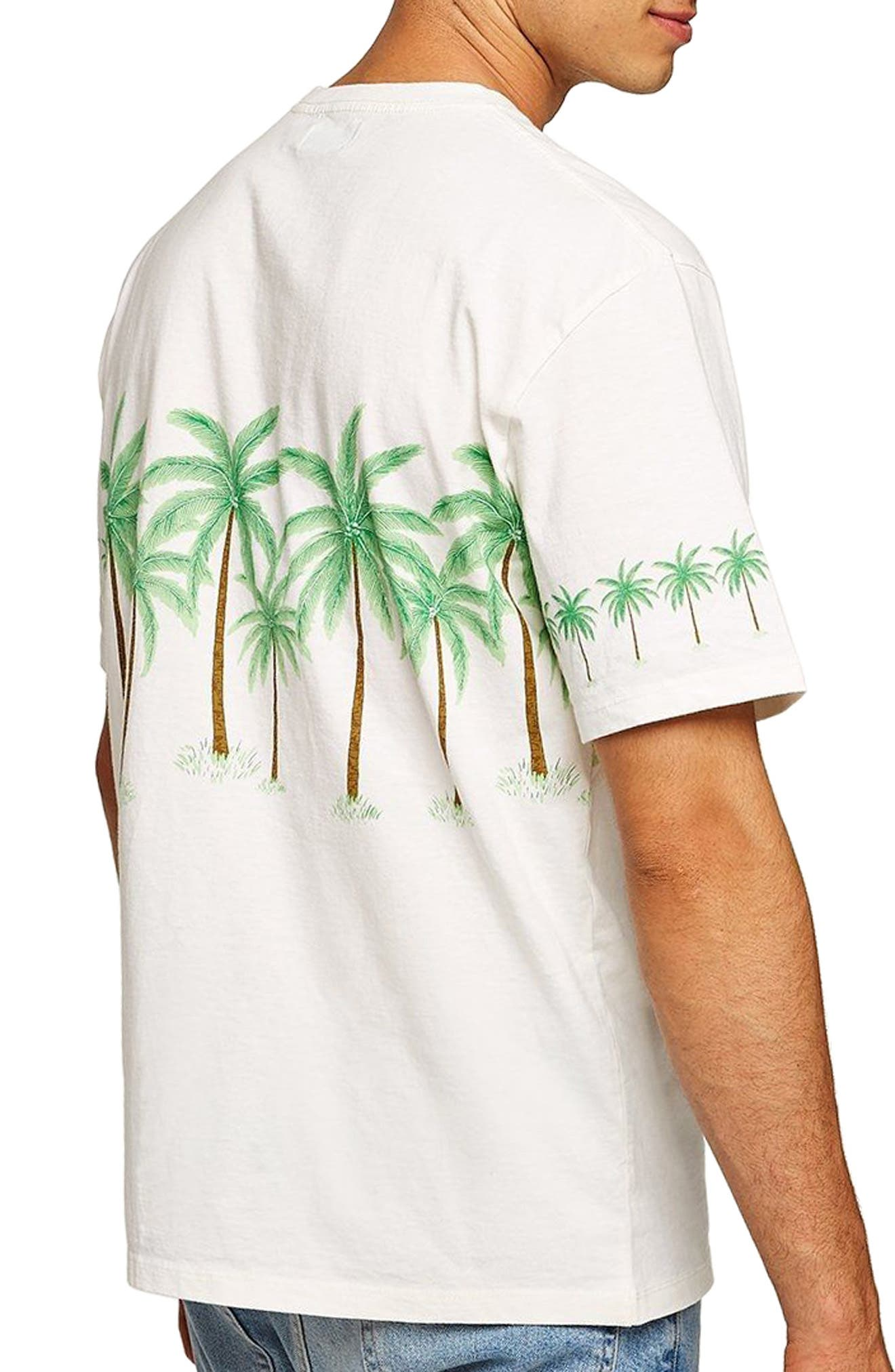 Oversize Palm Trees Graphic T-Shirt,                             Alternate thumbnail 2, color,                             CREAM MULTI