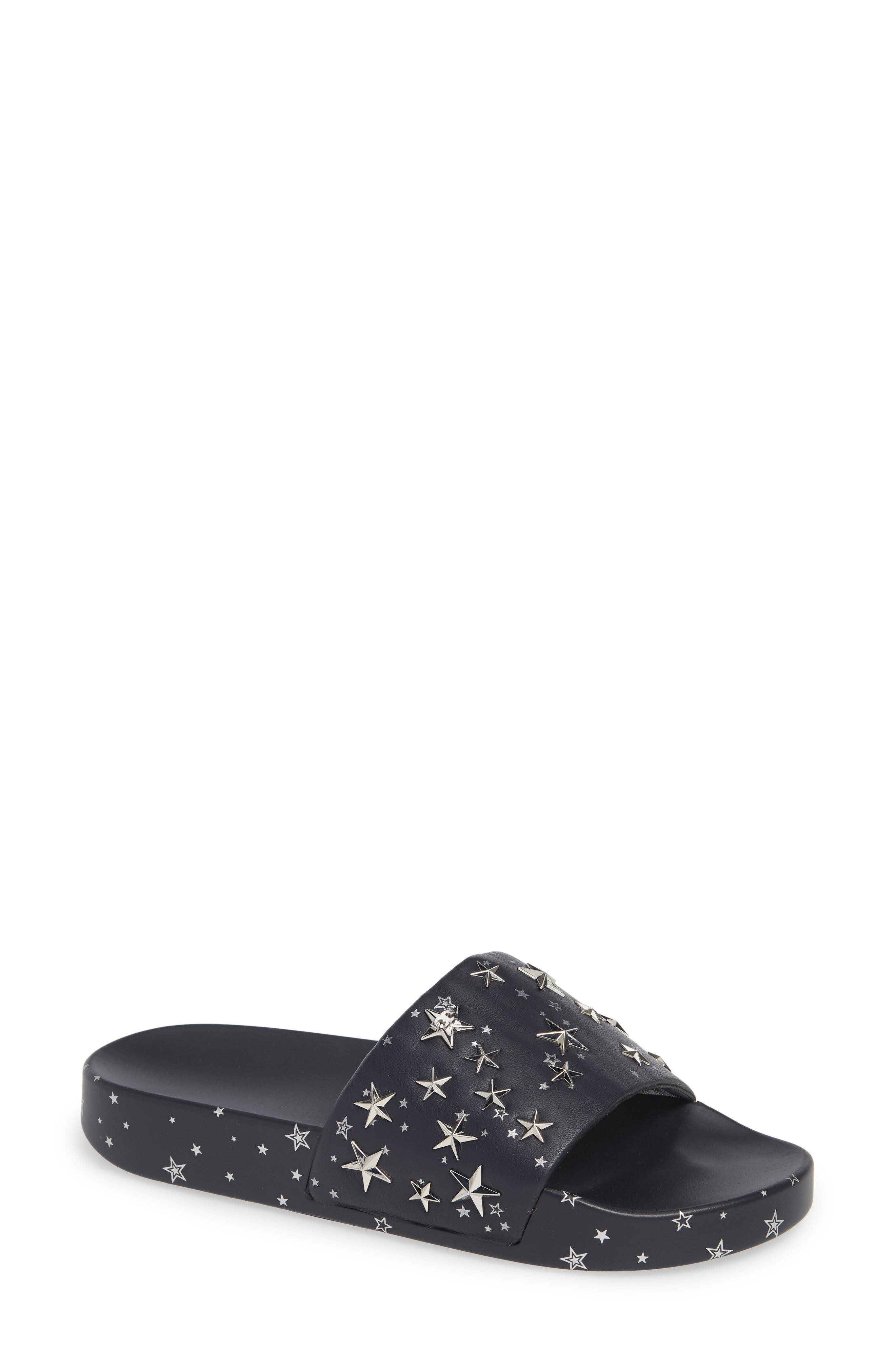 Star Studded Leather Platform Slides in Perfect Navy/ Silver