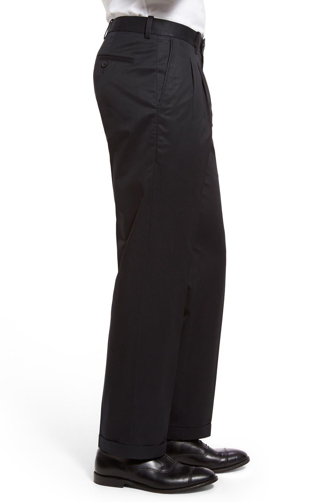 Classic Smartcare<sup>™</sup> Supima<sup>®</sup> Cotton Pleated Trousers,                             Alternate thumbnail 6, color,                             BLACK CAVIAR