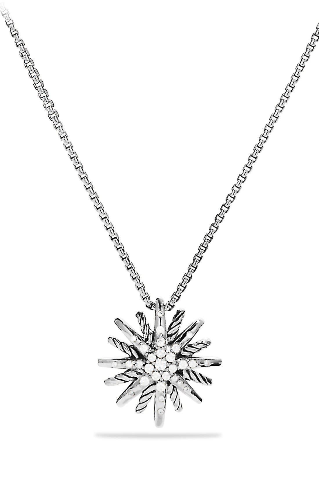 'Starburst' Small Pendant with Diamonds on Chain,                             Main thumbnail 1, color,                             DIAMOND