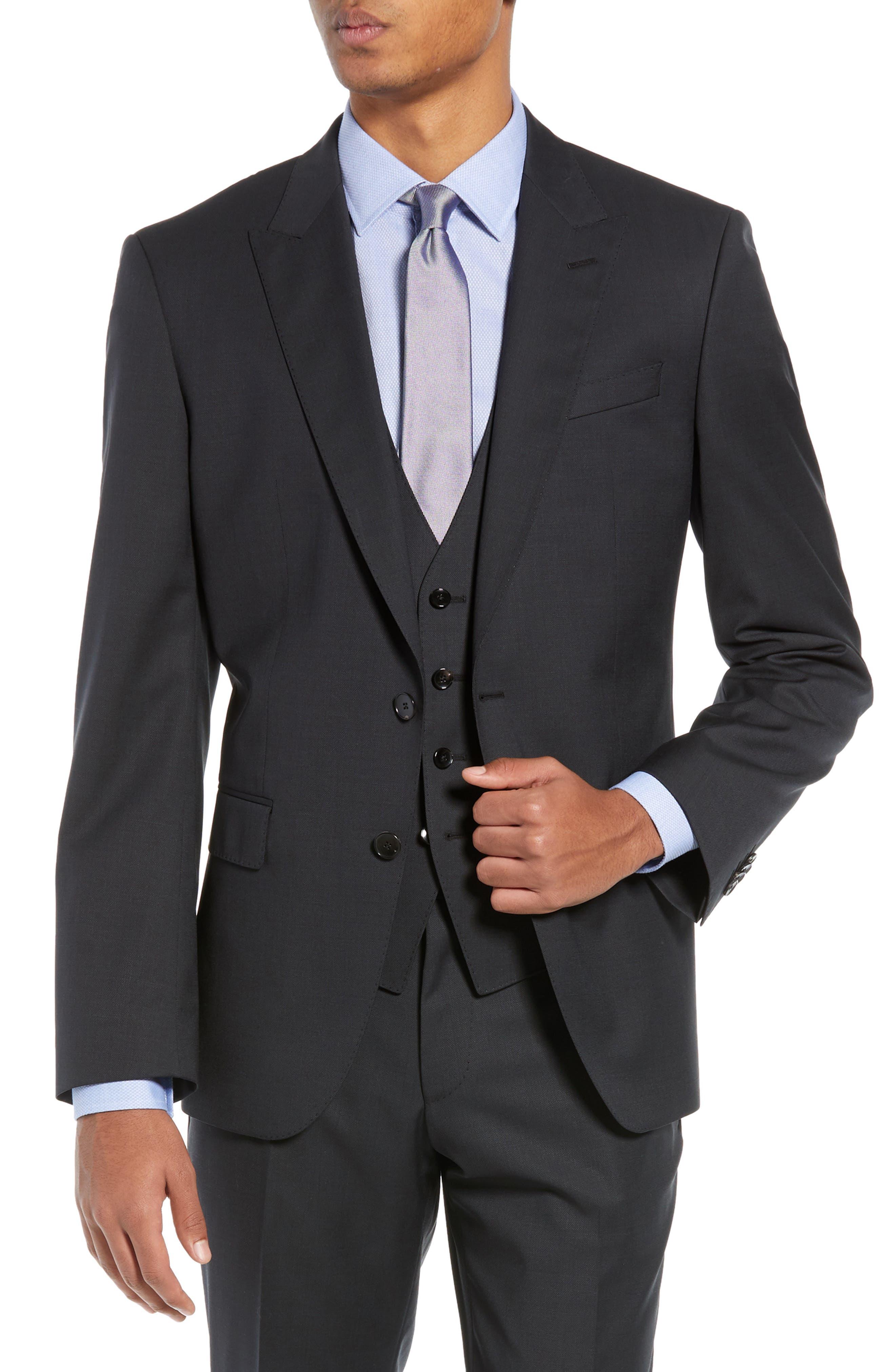 BOSS,                             Helward/Genius Trim Fit Solid Three Piece Wool Suit,                             Alternate thumbnail 6, color,                             DARK GREY