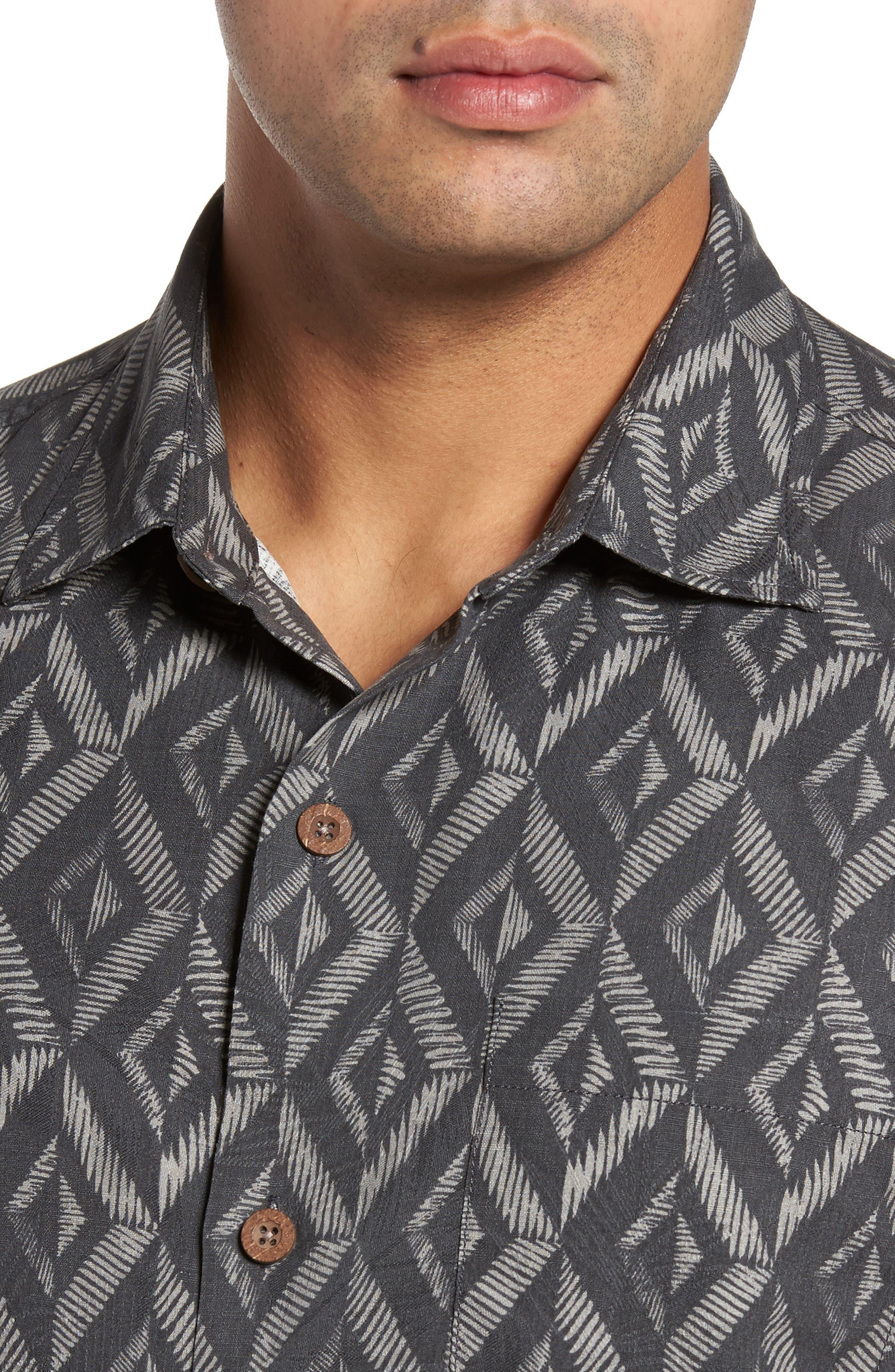 Diamond Tiles Standard Fit Silk Blend Camp Shirt,                             Alternate thumbnail 4, color,