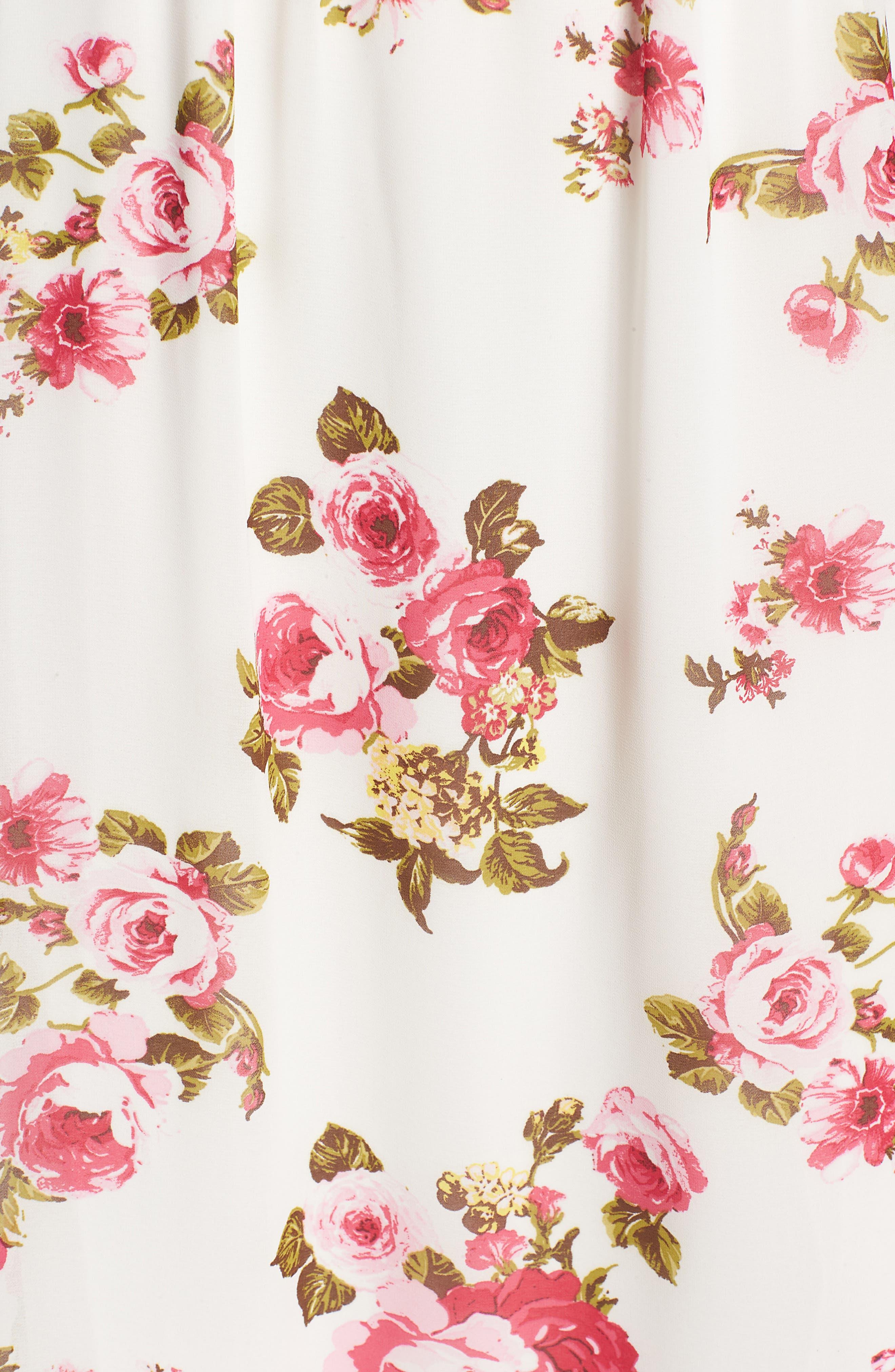 Floral Print Halter Midi Dress,                             Alternate thumbnail 7, color,                             900