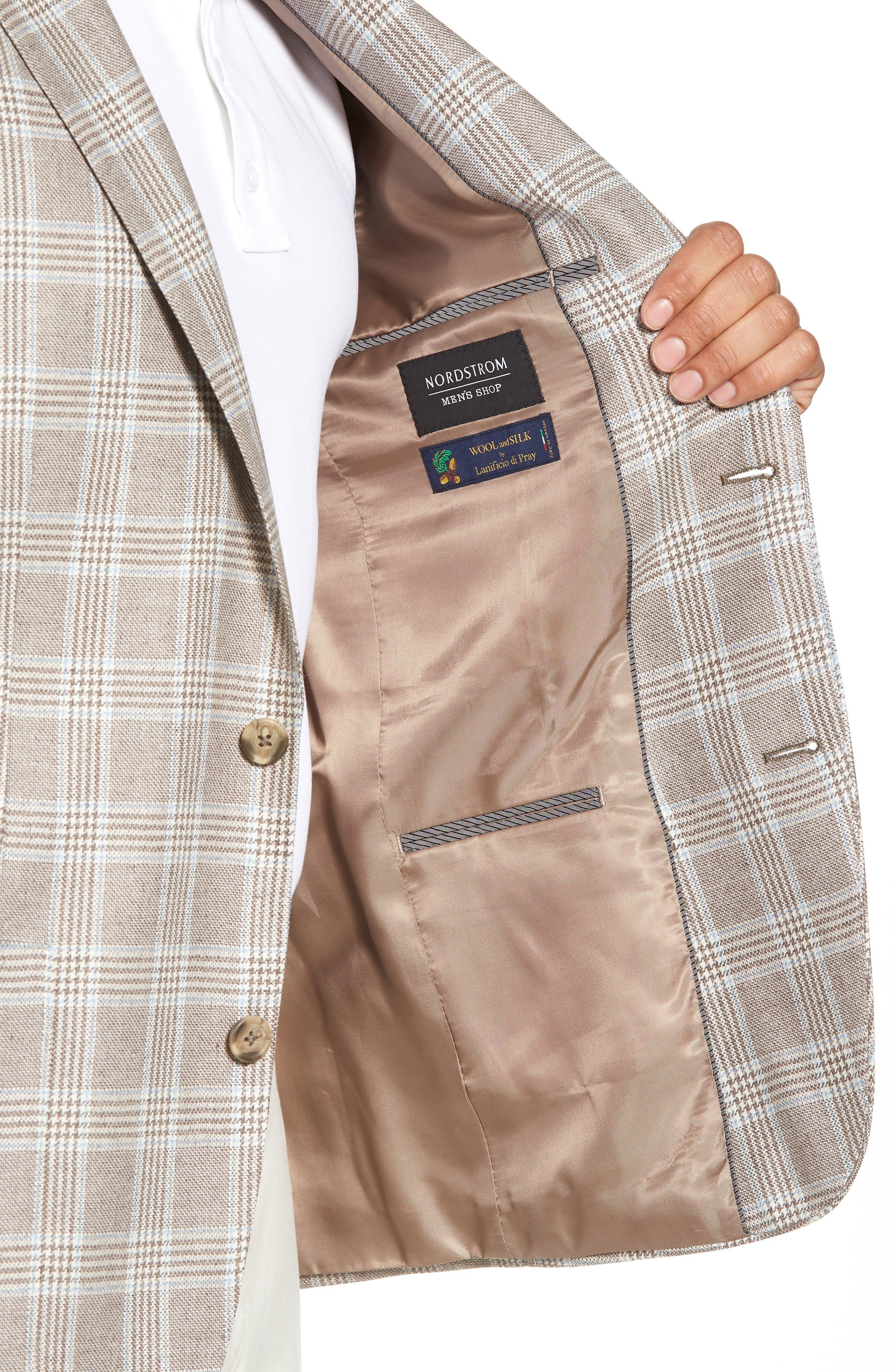 Trim Fit Plaid Silk & Wool Sport Coat,                             Alternate thumbnail 4, color,                             235