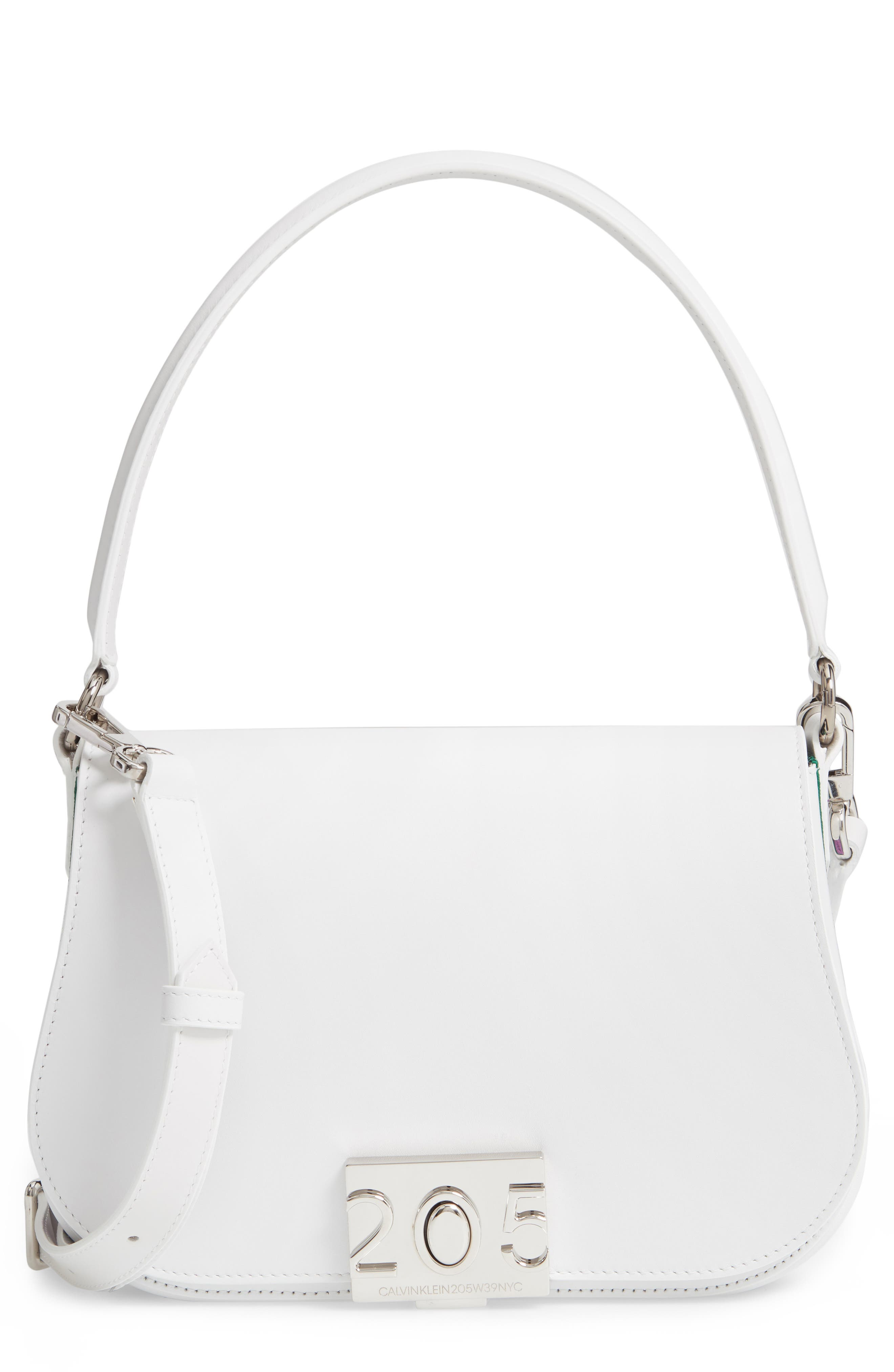 CALVIN KLEIN 205W39NYC Bonnie Leather Shoulder Bag, Main, color, OPTIC WHITE