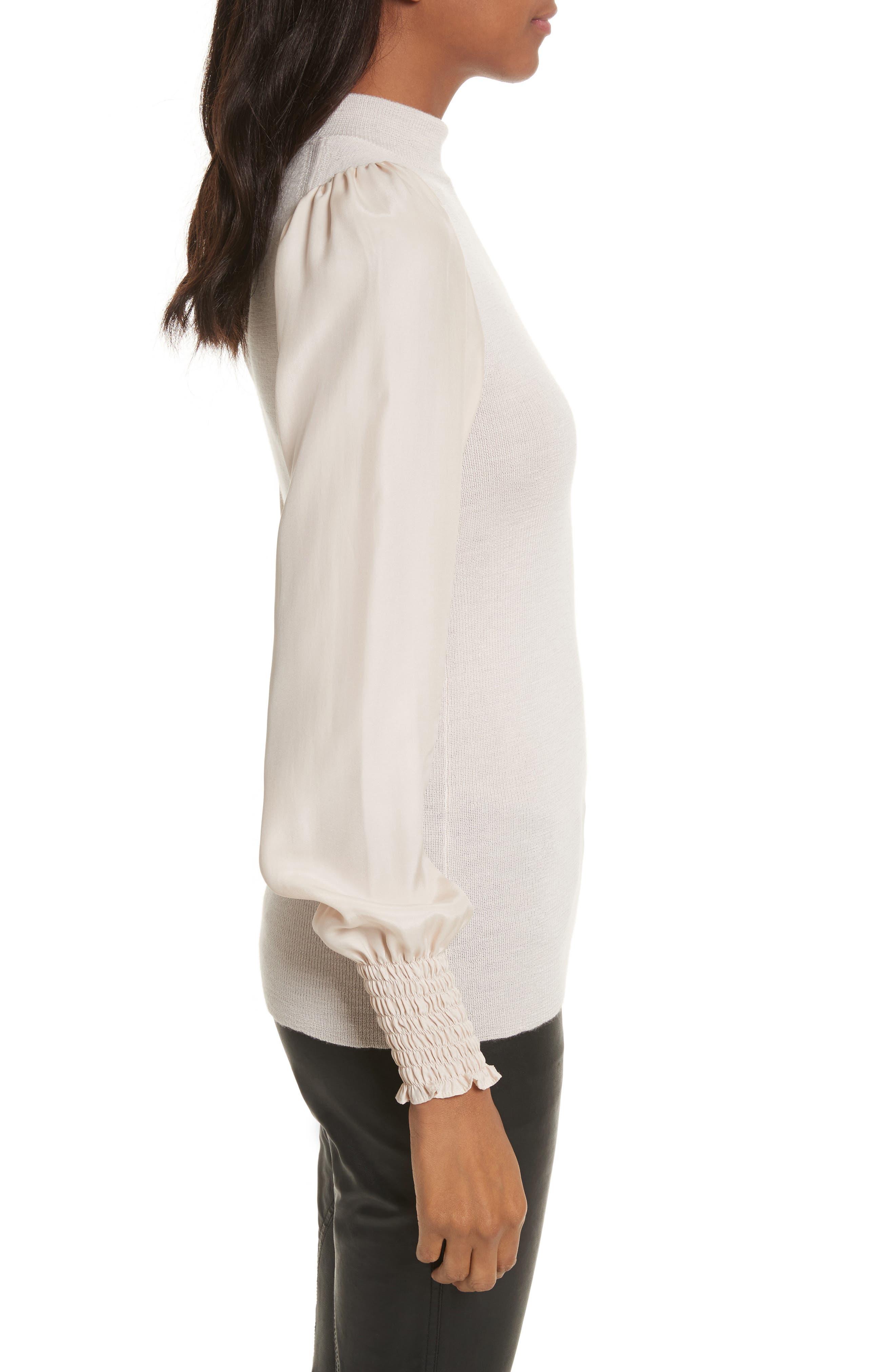 Merino Wool Mock Neck Pullover,                             Alternate thumbnail 3, color,