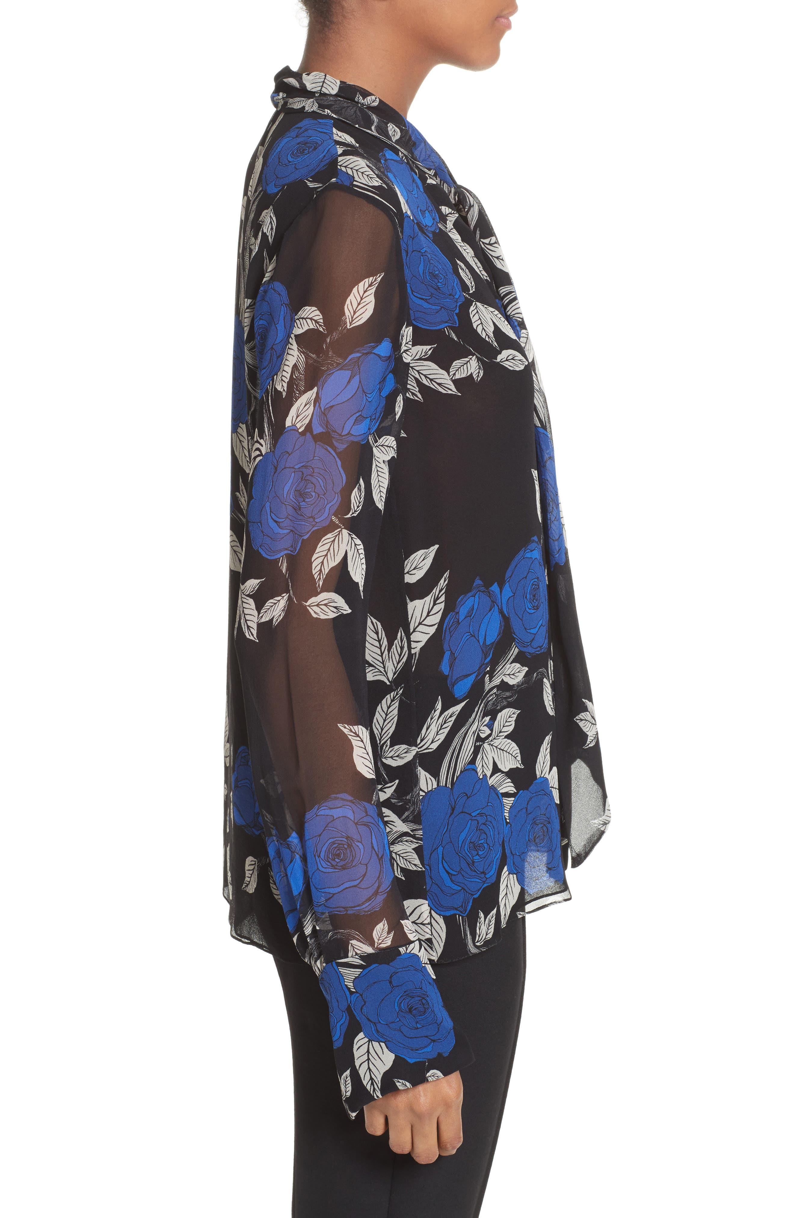 Floral Silk Tie Neck Blouse,                             Alternate thumbnail 3, color,                             002