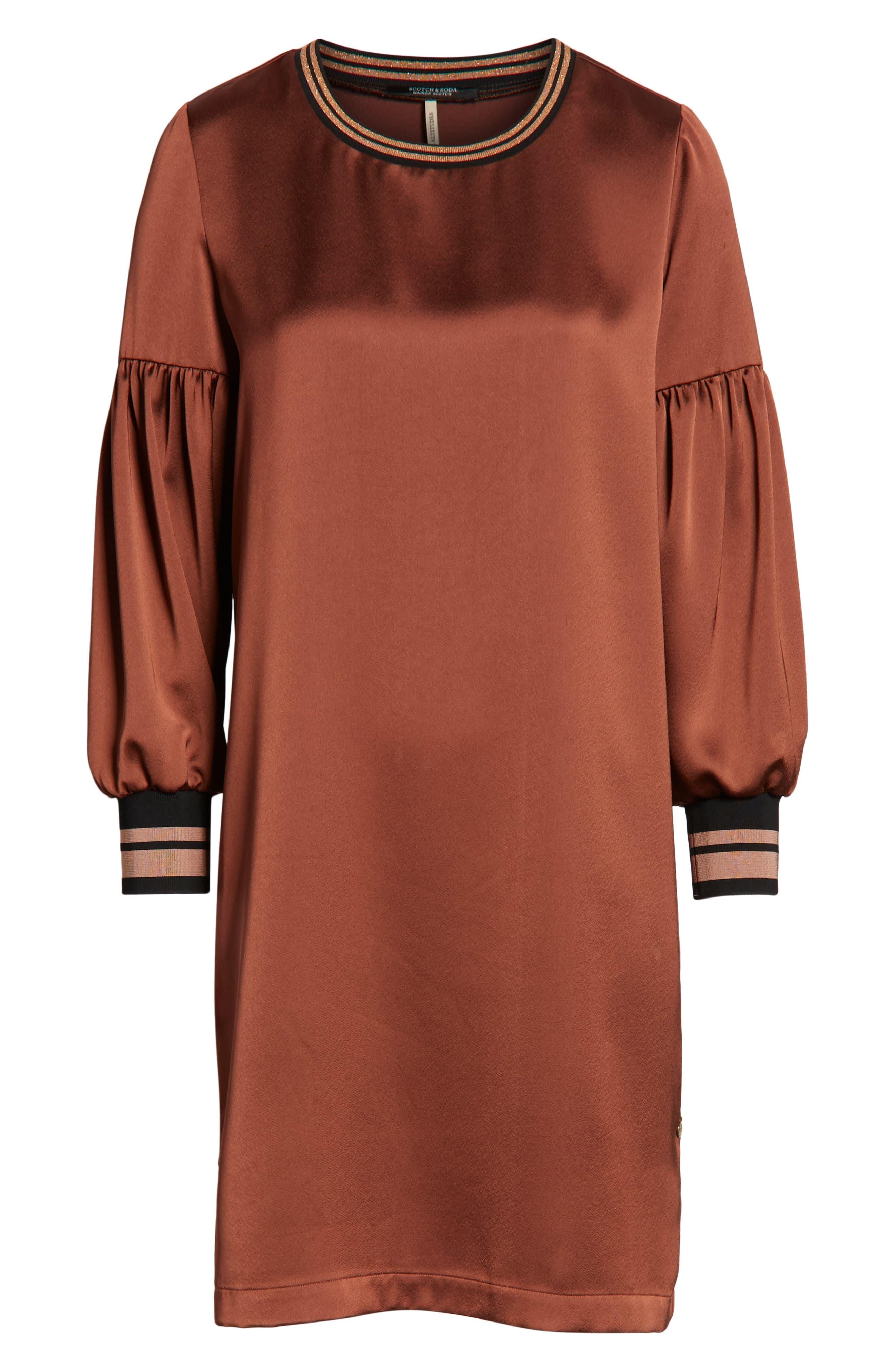 Voluminous Sleeve Shift Dress,                             Alternate thumbnail 7, color,                             BRICK