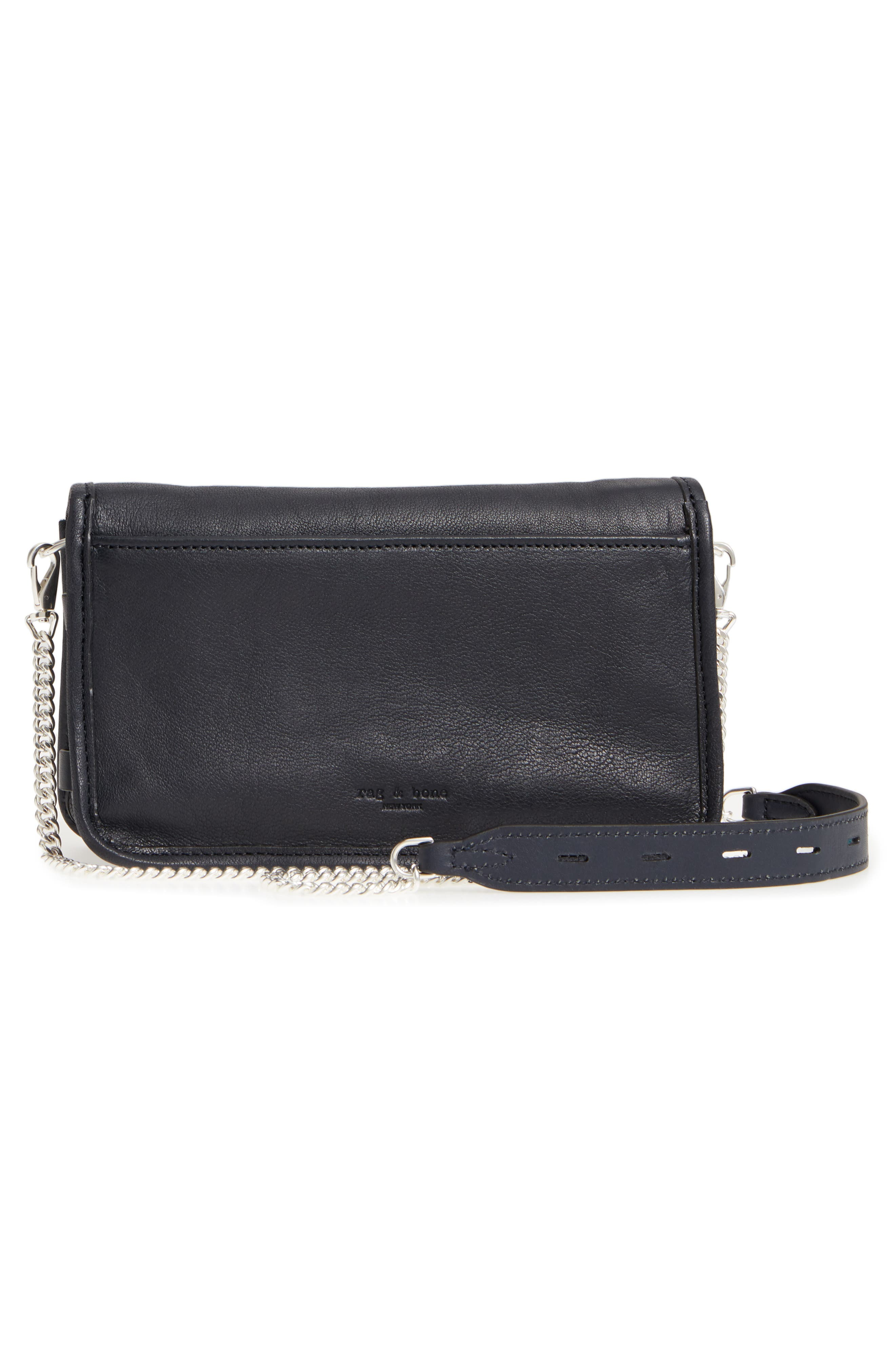 Leather Field Clutch,                             Alternate thumbnail 3, color,                             NAVY GROMMET