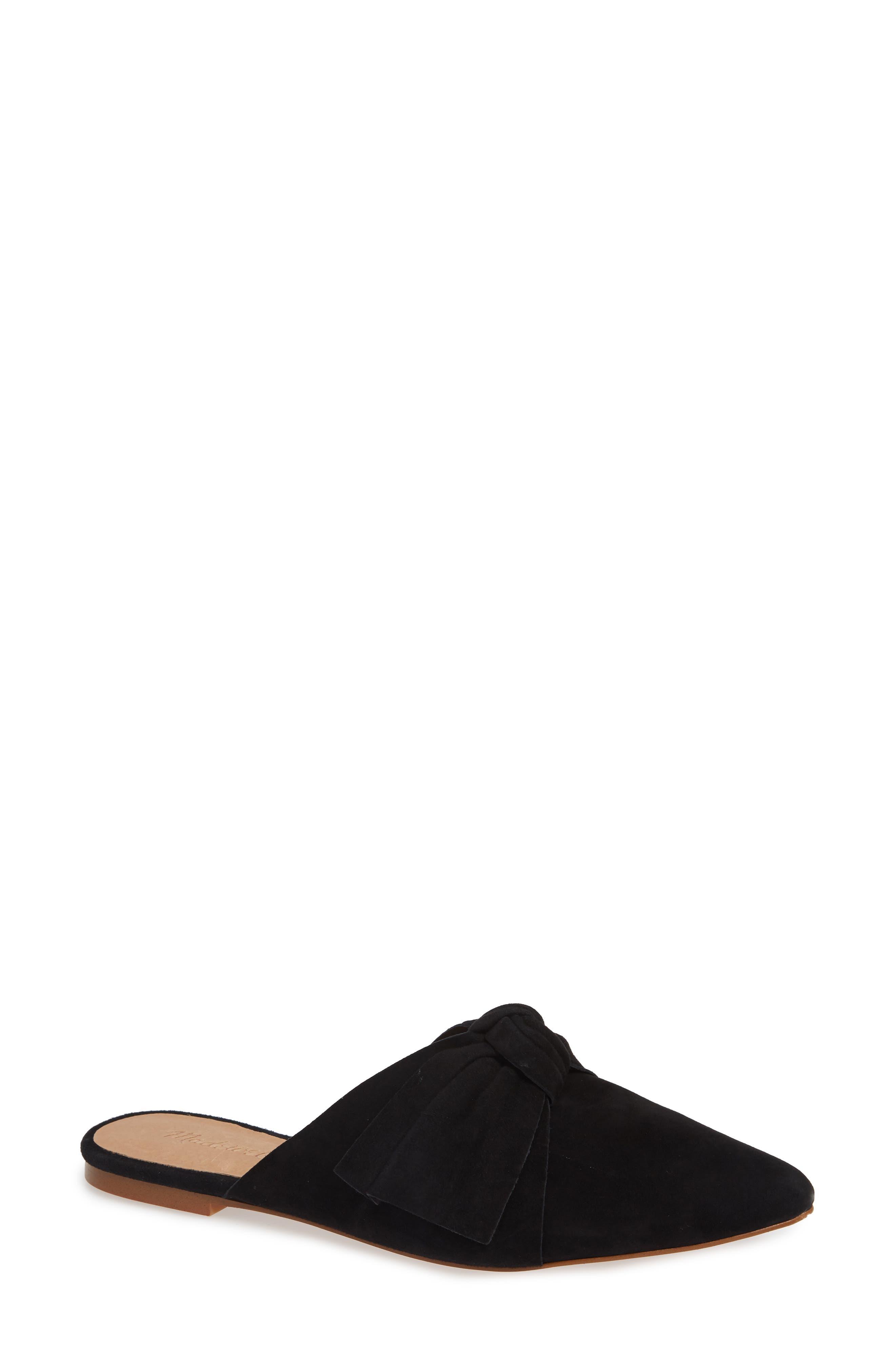 The Remi Bow Mule,                             Main thumbnail 1, color,                             TRUE BLACK SUEDE