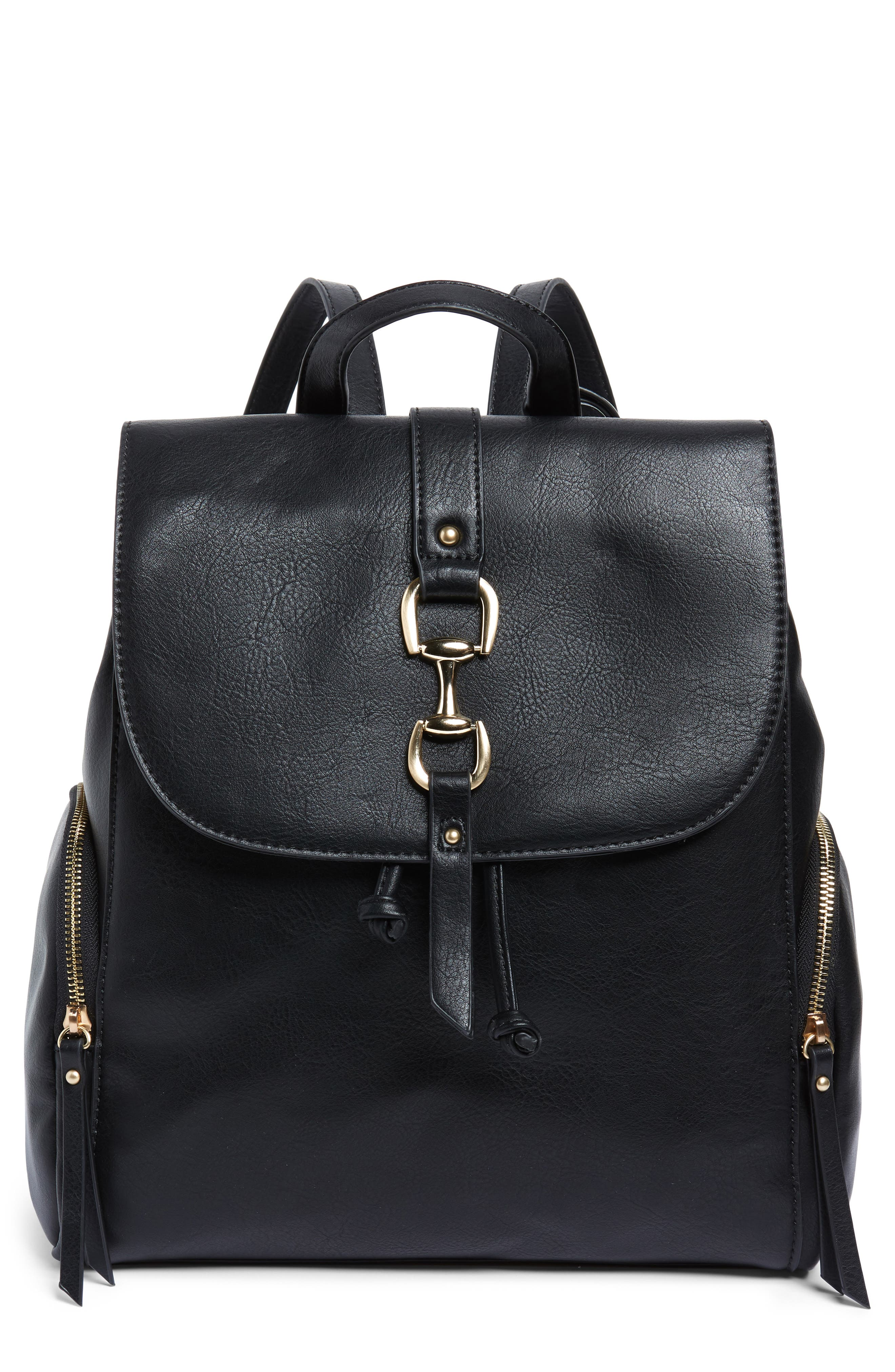 Marah Faux Leather Backpack,                         Main,                         color, BLACK