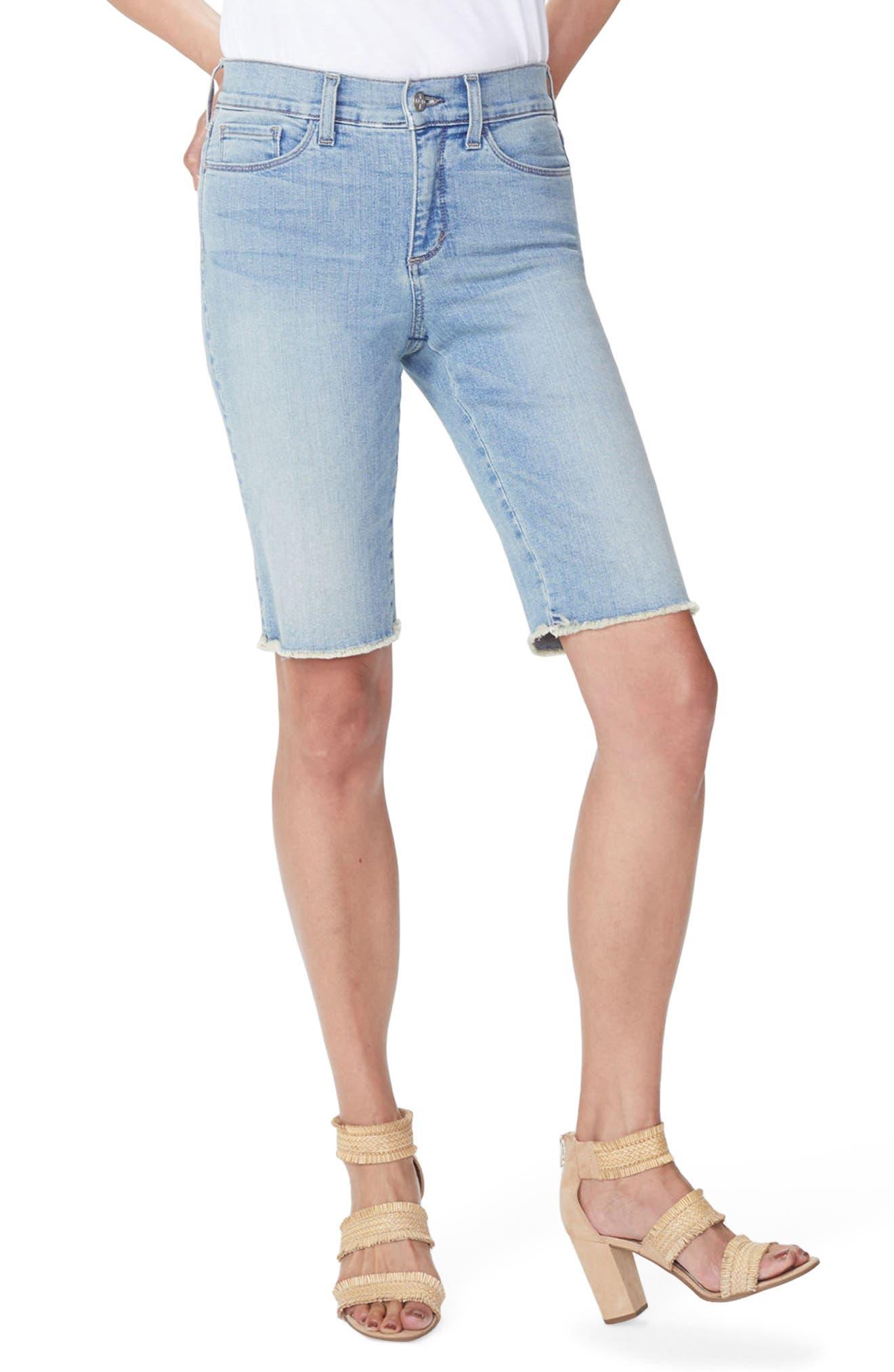 Briella Frayed Hem Denim Bermuda Shorts,                         Main,                         color, WESTLAND