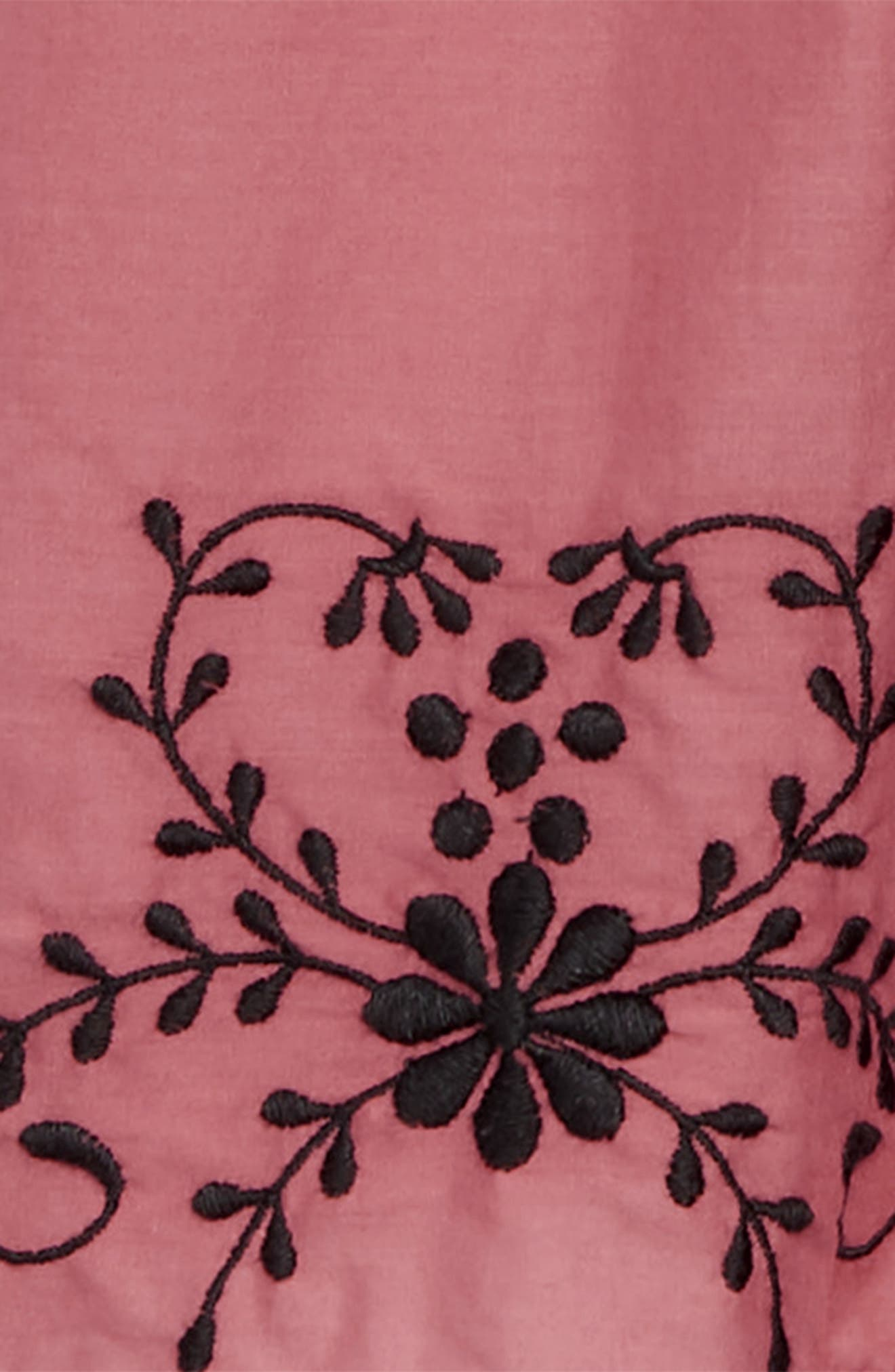 Embroidered Flowy Dress,                             Alternate thumbnail 3, color,                             PINK CEDAR