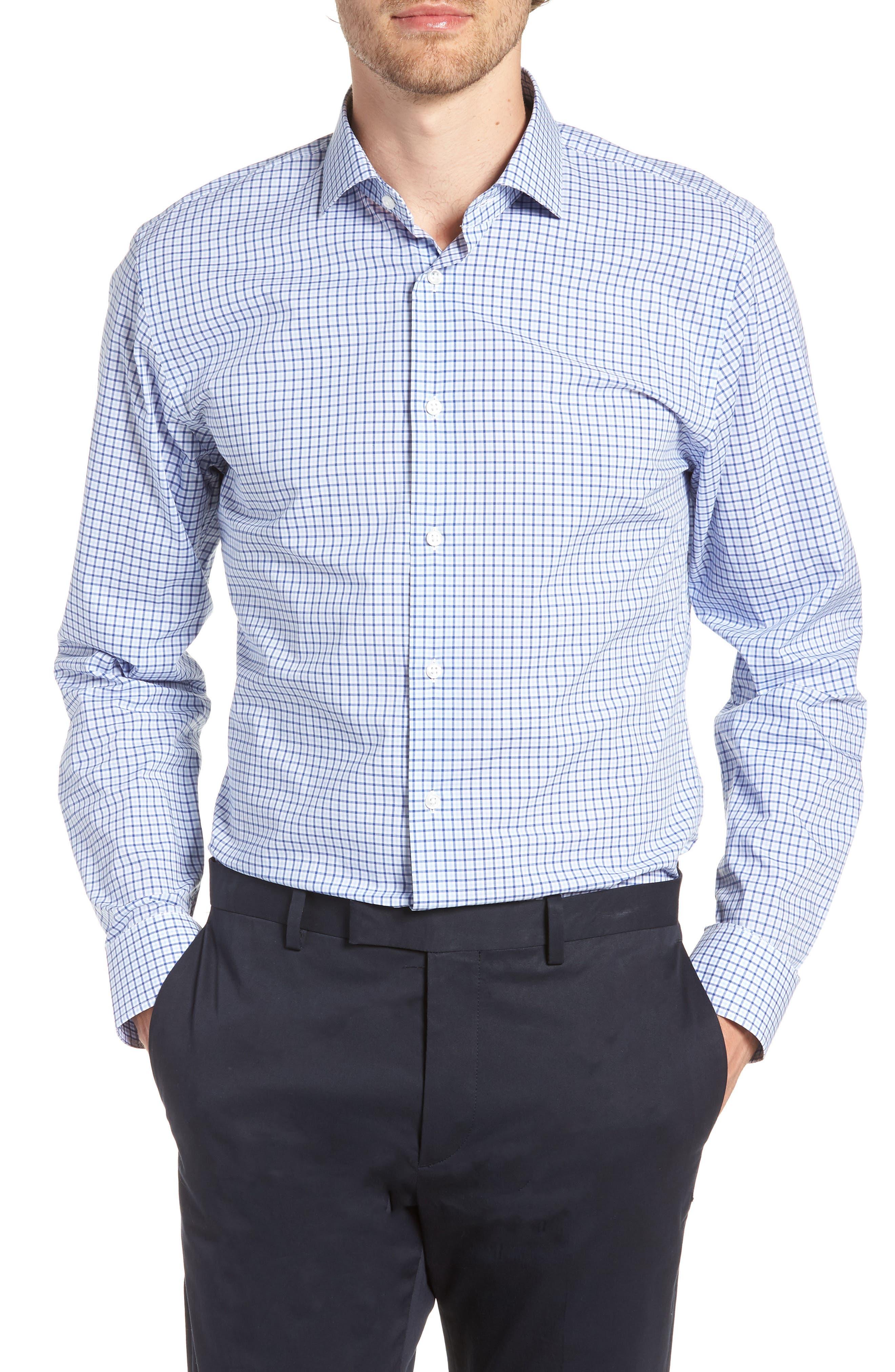 Trim Fit Check Dress Shirt,                         Main,                         color, BLUE SODALITE