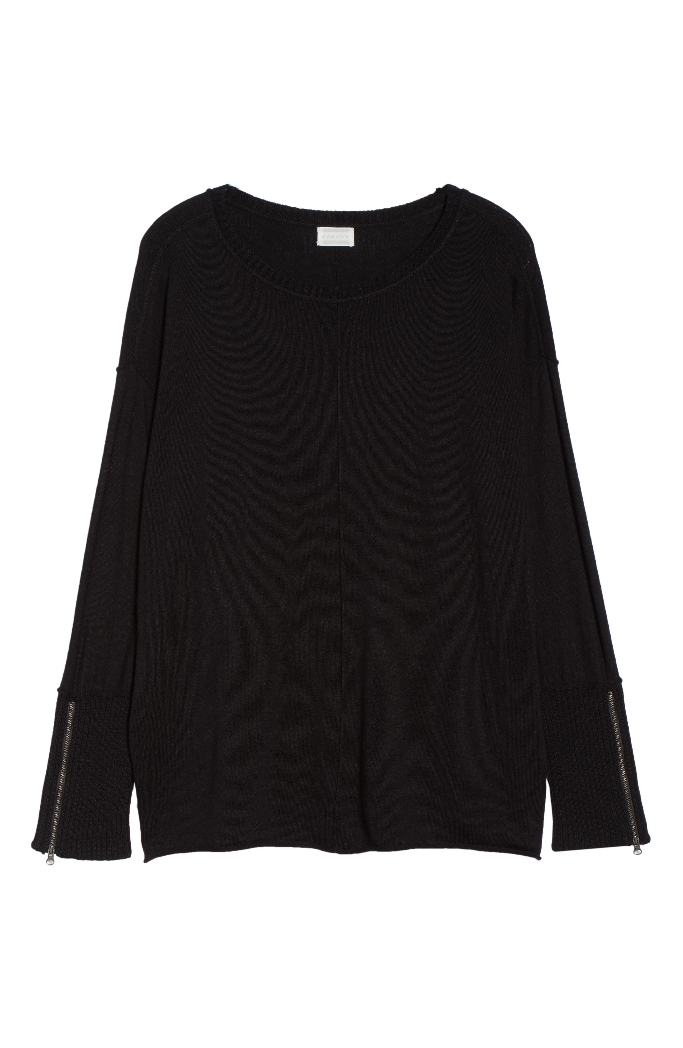 Mix Gauge Zip Cuff Sweater,                             Alternate thumbnail 6, color,                             001