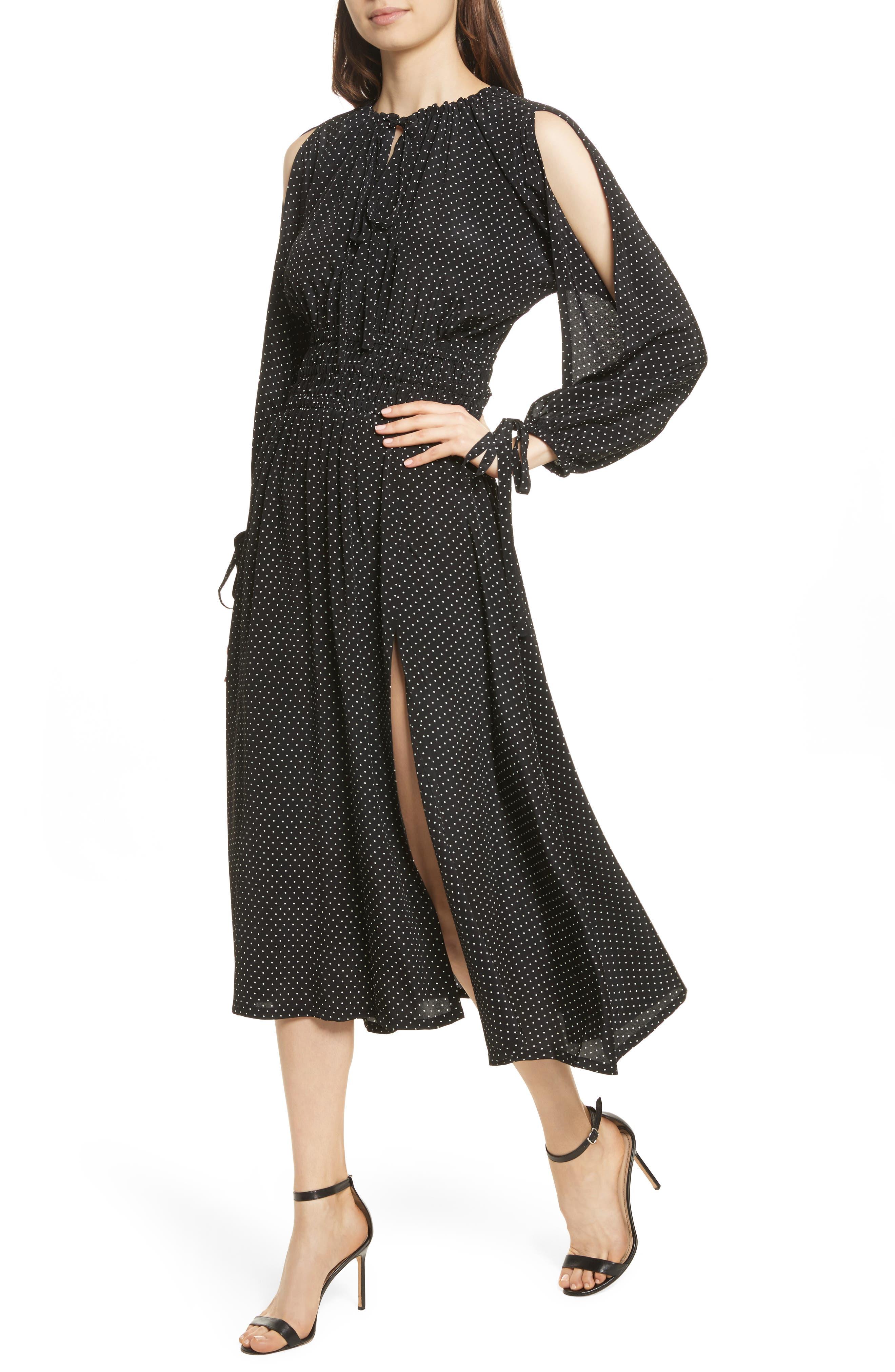 Polka Dot Silk Cold Shoulder Dress,                             Alternate thumbnail 4, color,                             001