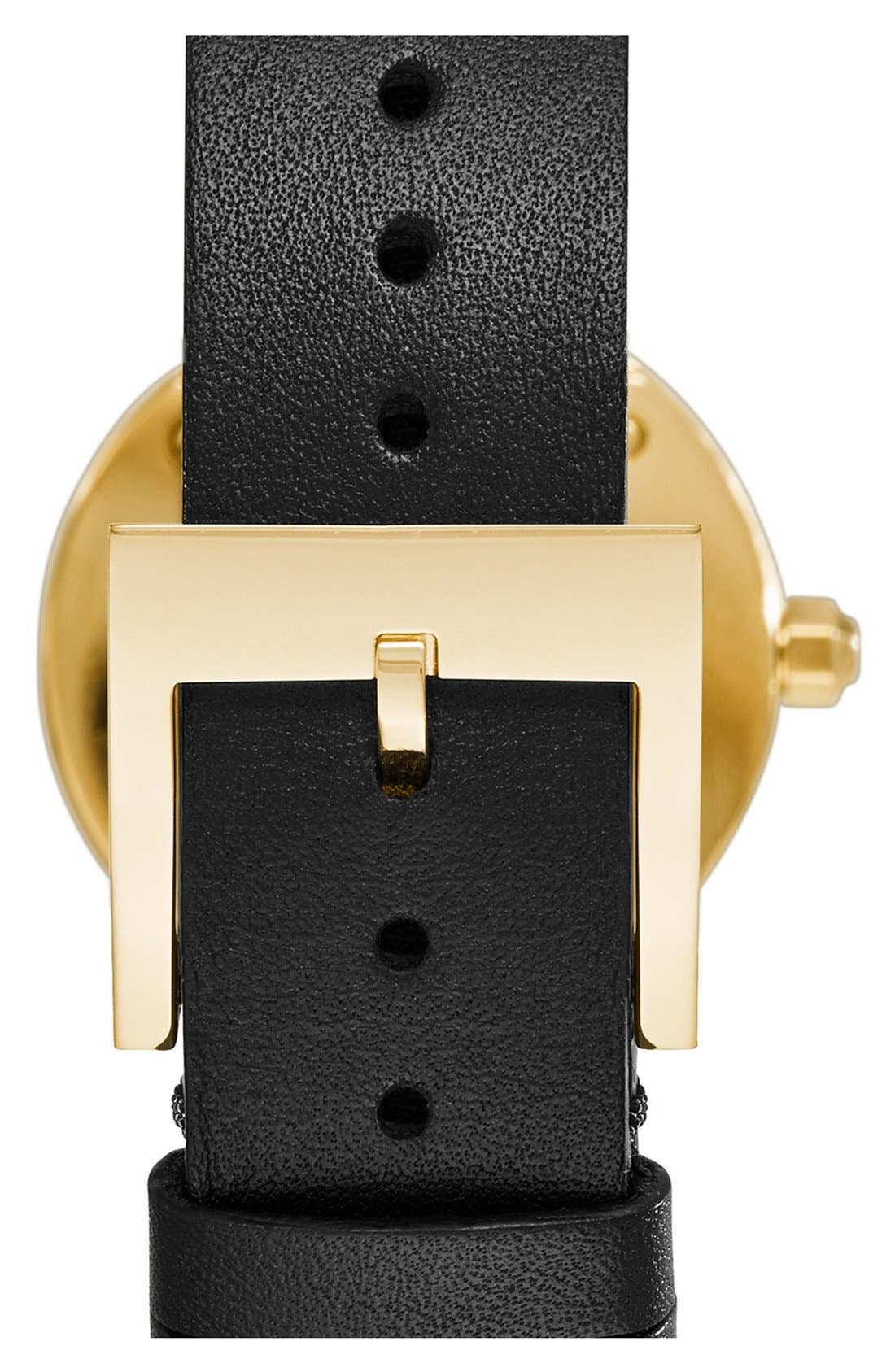 TORY BURCH,                             'Reva' Logo Dial Leather Strap Watch, 28mm,                             Alternate thumbnail 4, color,                             002
