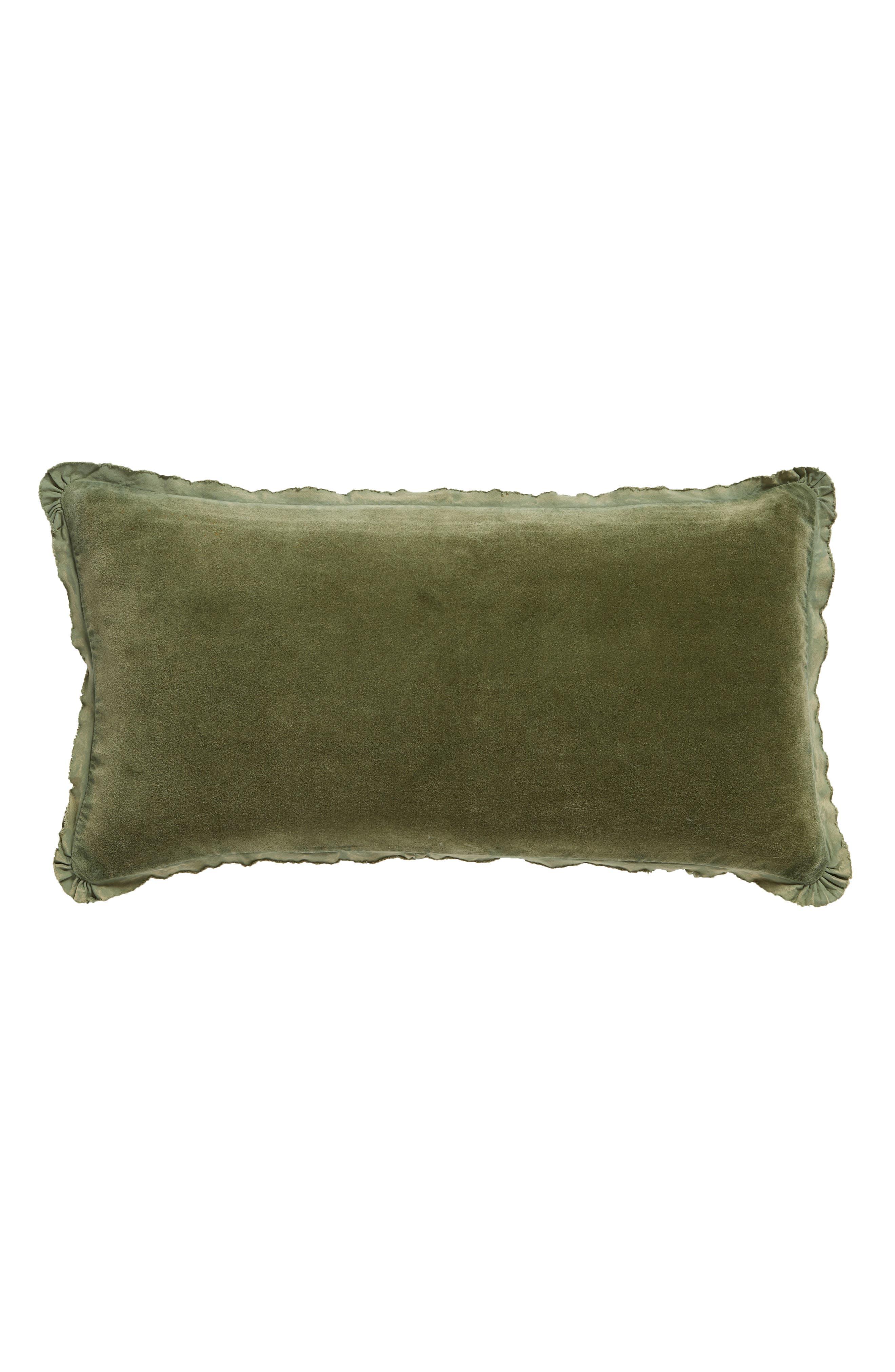 Velvet Accent Pillow,                             Main thumbnail 1, color,                             GREEN SORREL