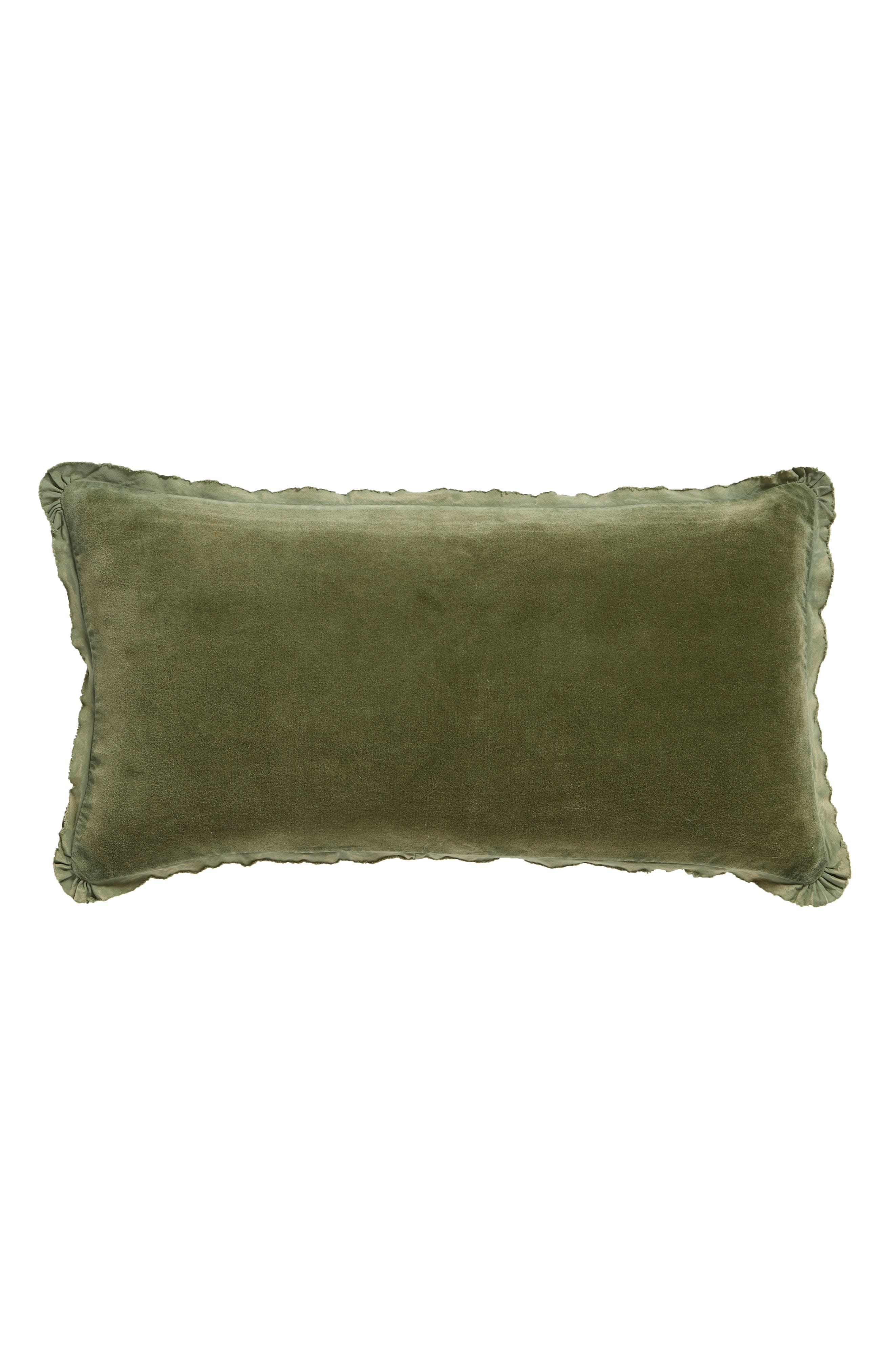 Velvet Accent Pillow,                         Main,                         color, GREEN SORREL