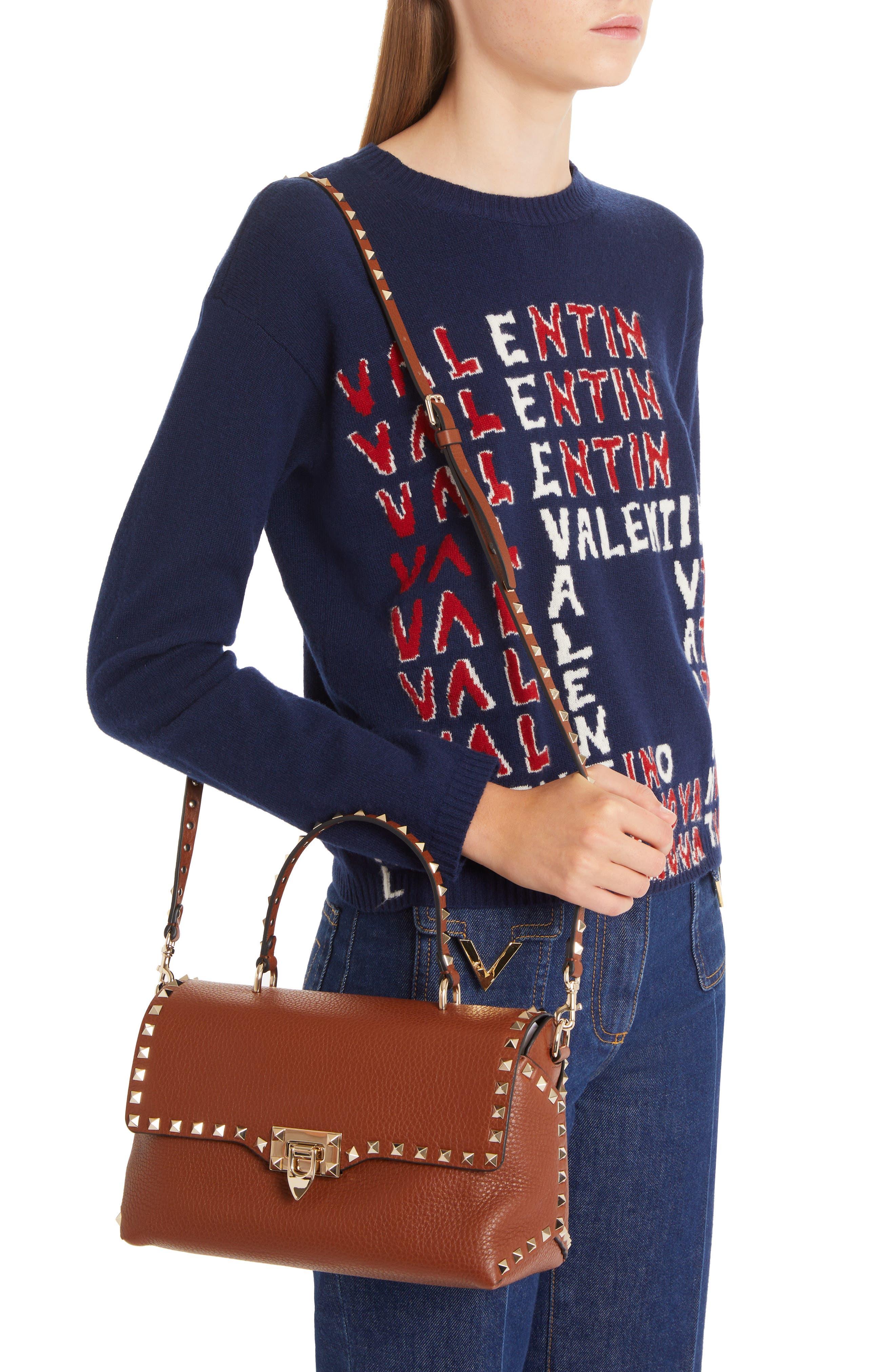 Medium Rockstud Leather Crossbody Bag,                             Alternate thumbnail 2, color,                             BRIGHT COGNAC