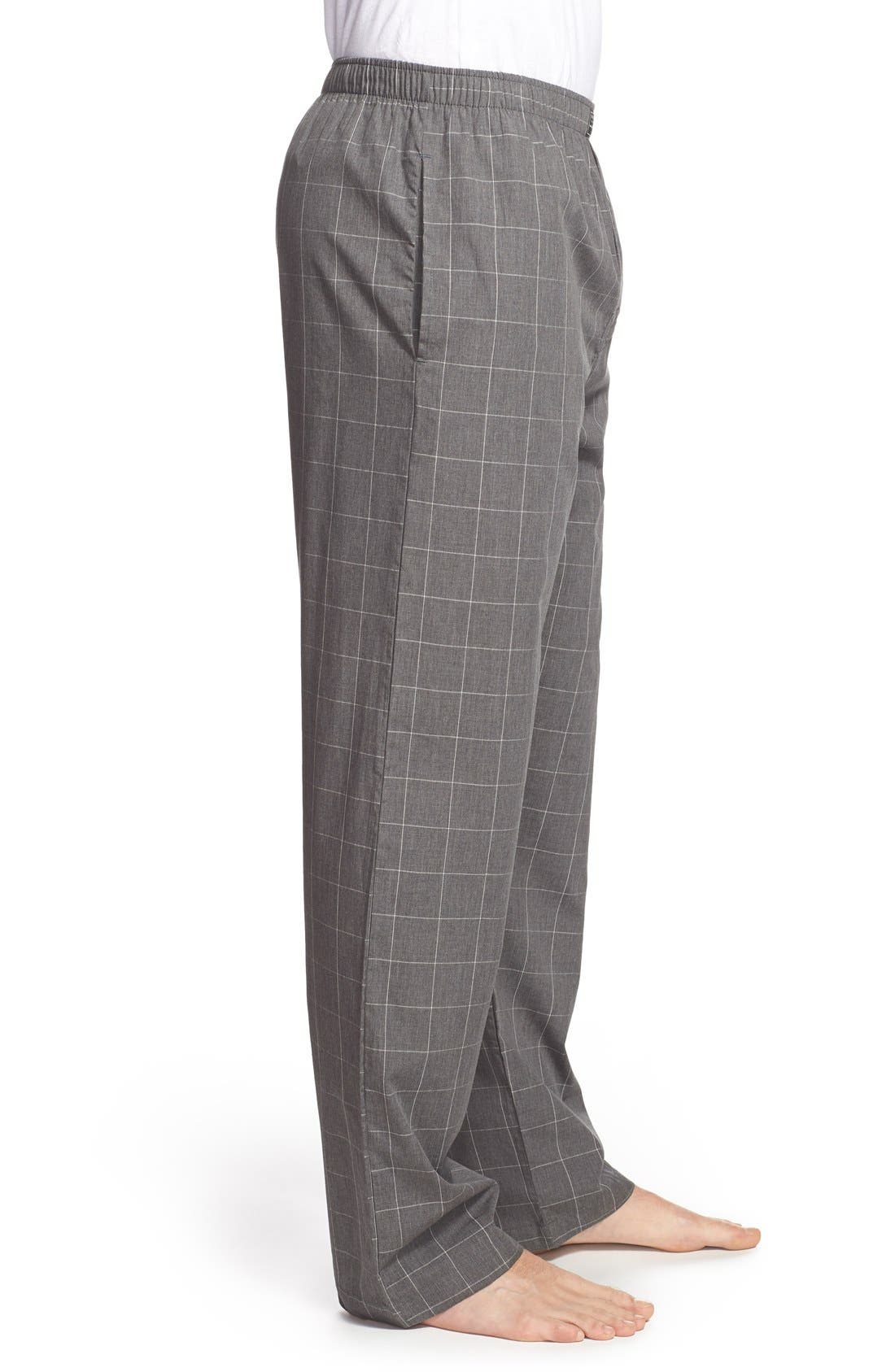 Cotton Pajama Pants,                             Alternate thumbnail 3, color,                             CHARCOAL