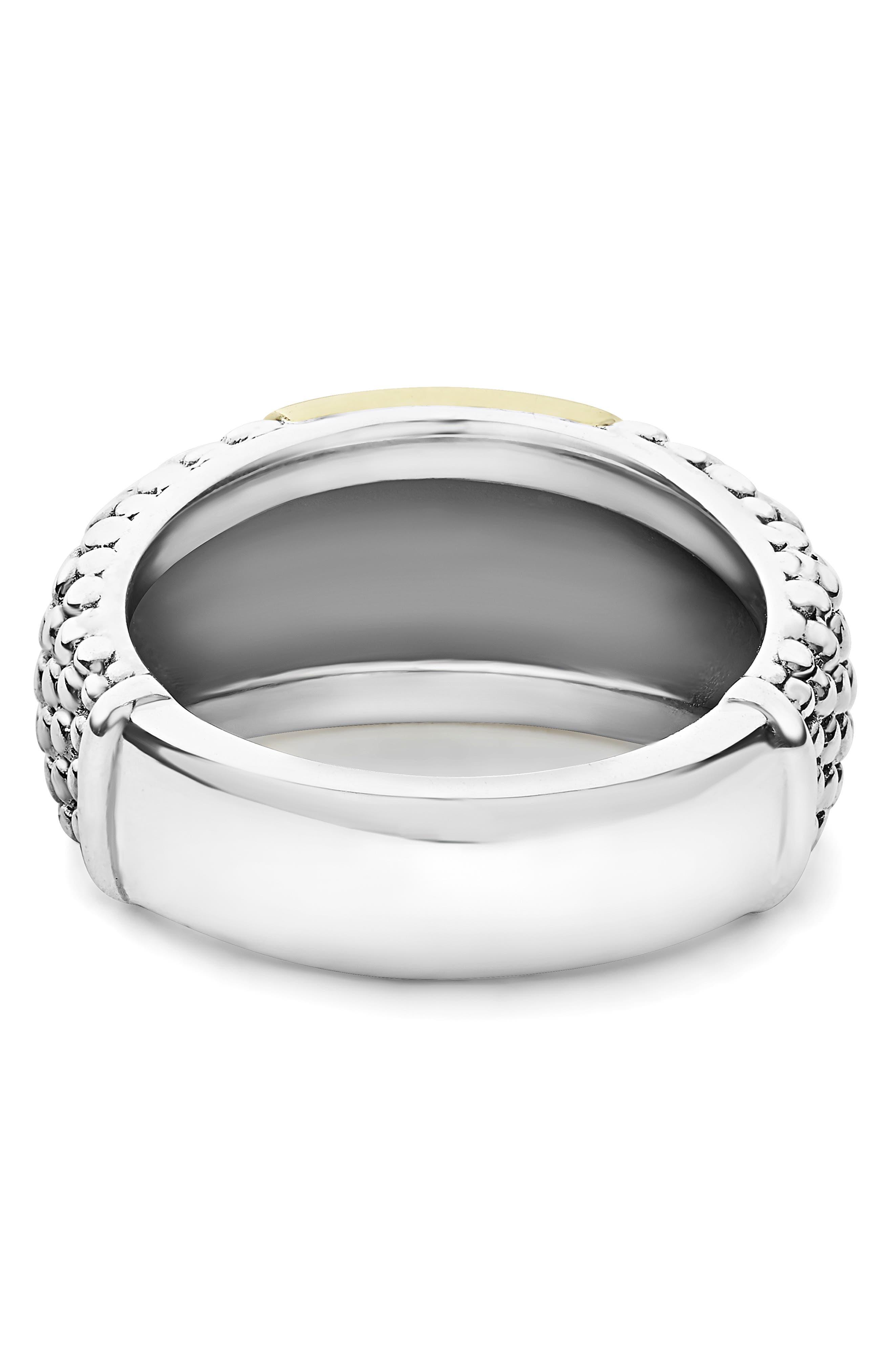 Signature Caviar High Bar Ring,                             Alternate thumbnail 4, color,                             SILVER/ GOLD