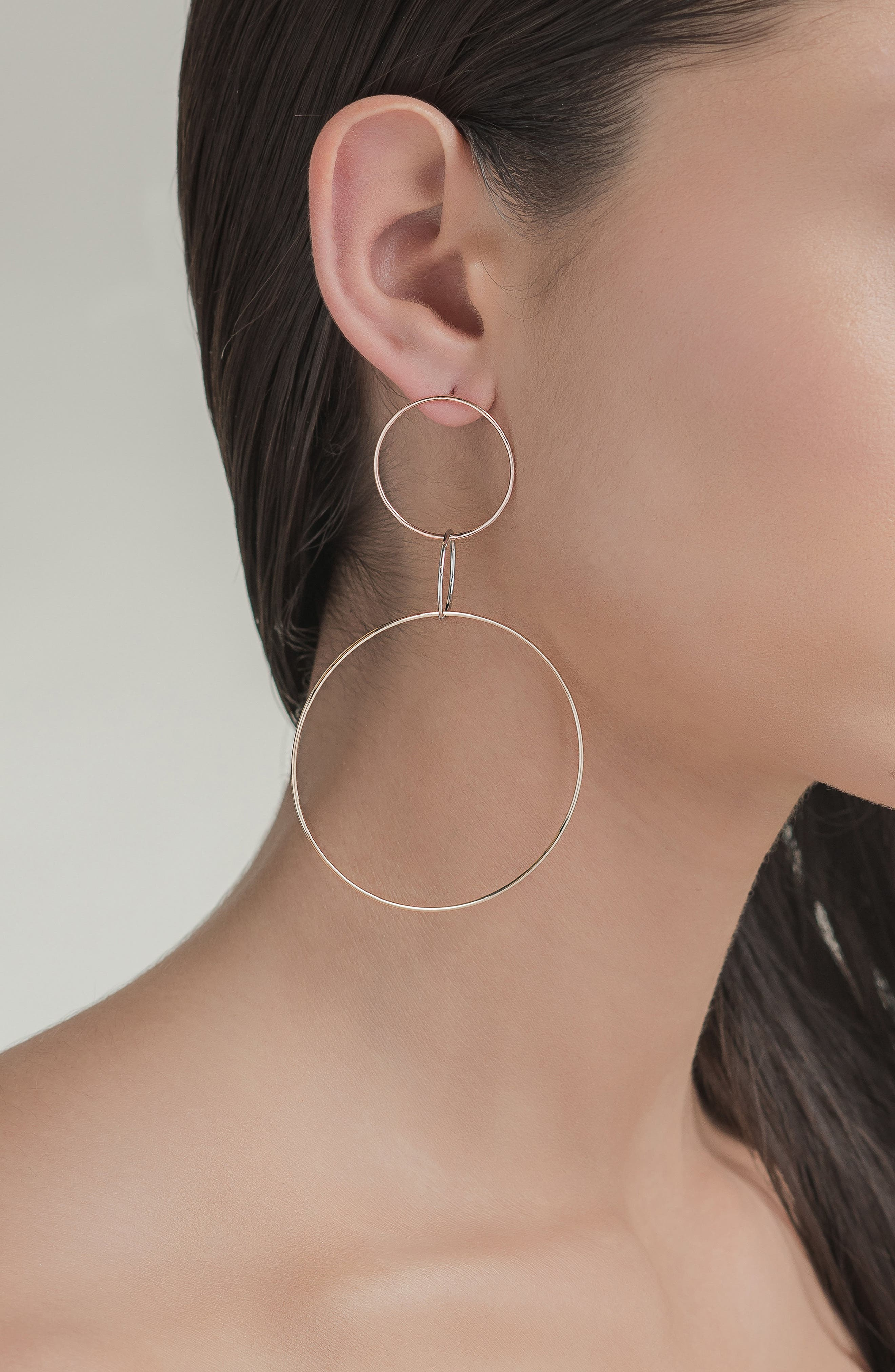 Tri-Tone Three Hoop Wire Drop Earrings,                             Alternate thumbnail 3, color,                             THREE TONE MIX