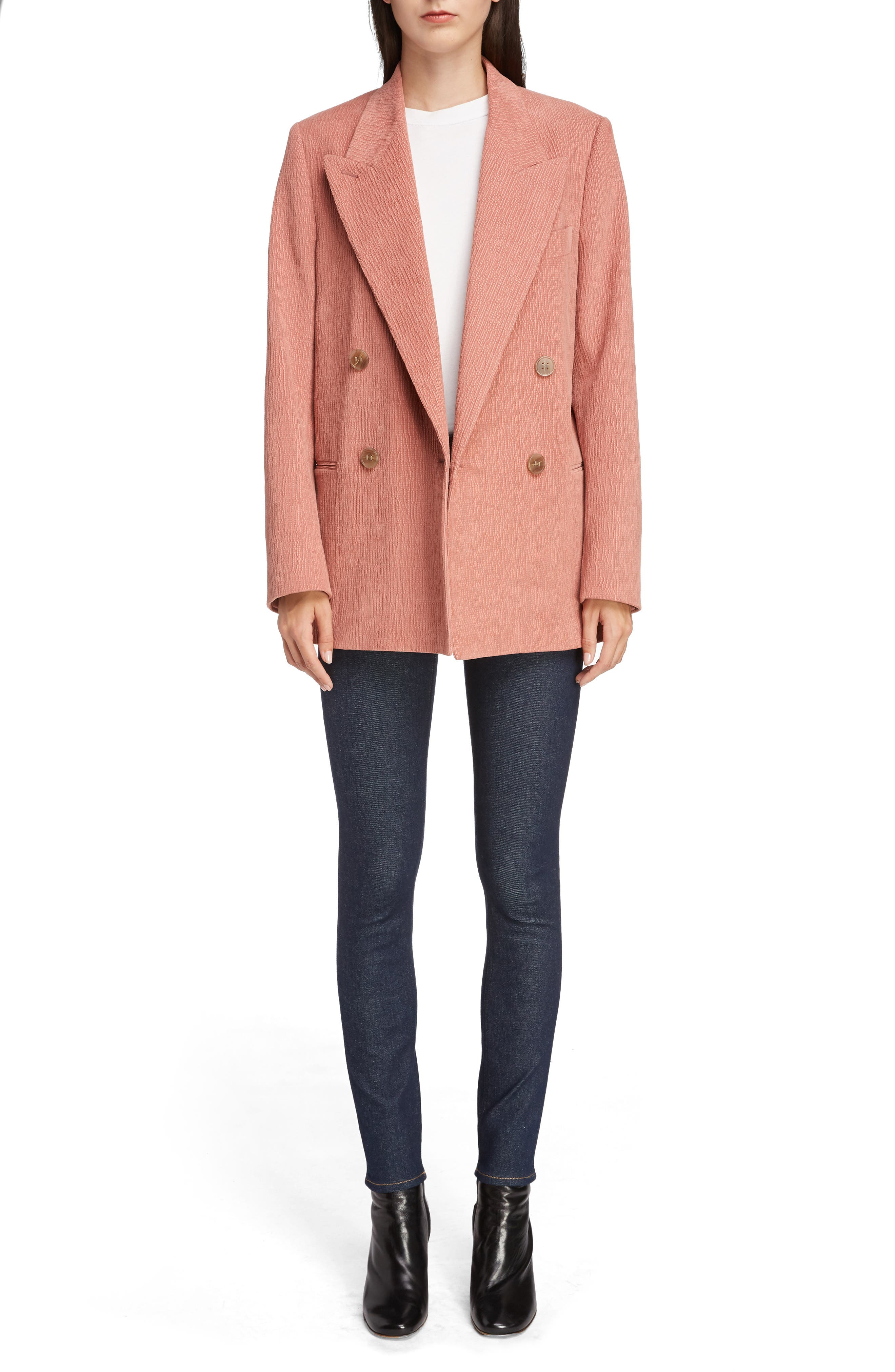 ACNE STUDIOS,                             Corduroy Double Breasted Blazer,                             Alternate thumbnail 6, color,                             OLD PINK