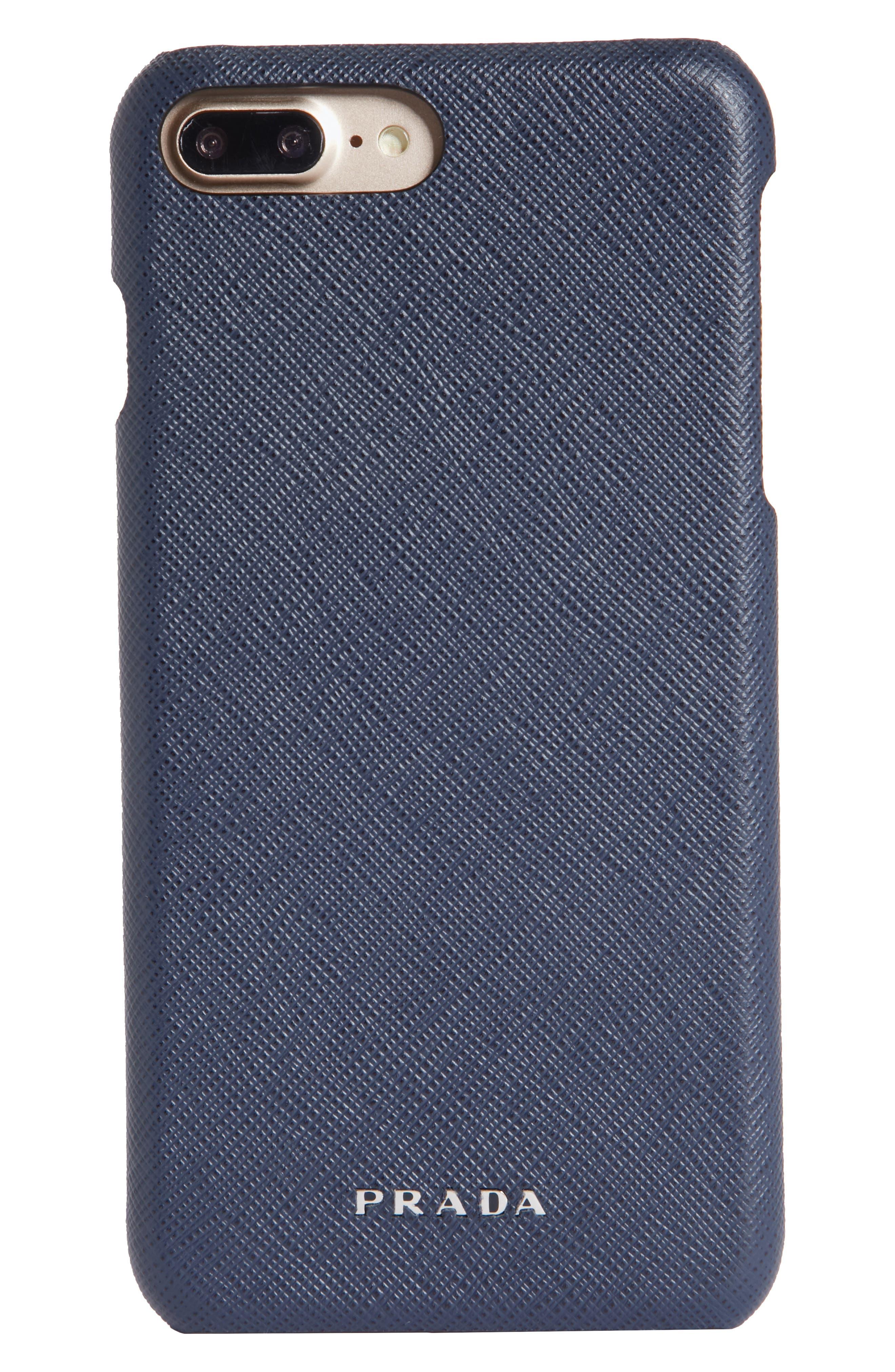 Saffiano Leather iPhone 8 Case,                             Main thumbnail 1, color,                             BALTICO