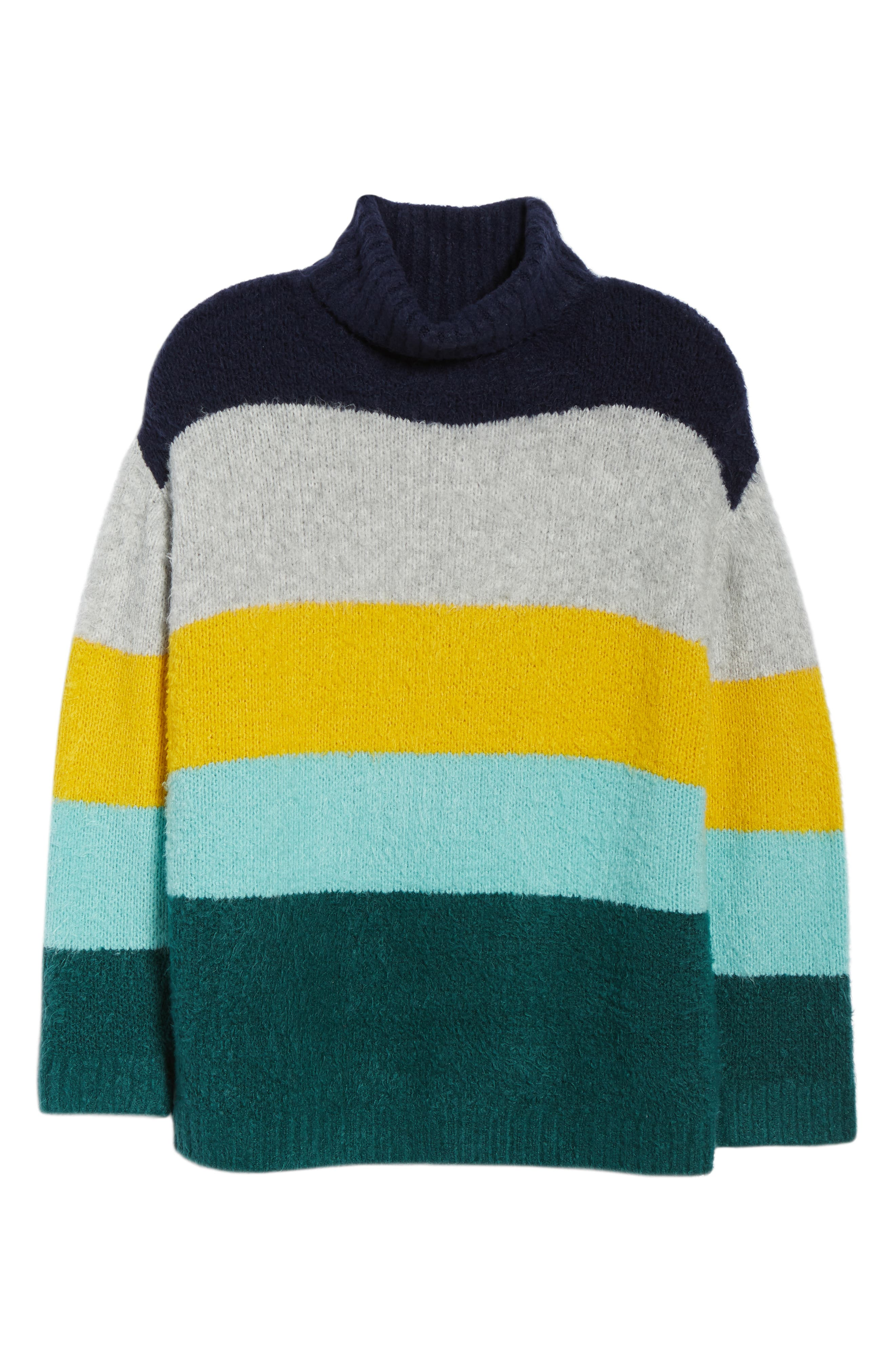 Bold Stripe Oversize Sweater,                             Alternate thumbnail 6, color,                             TEAL PACIFIC WIDE STRIPE