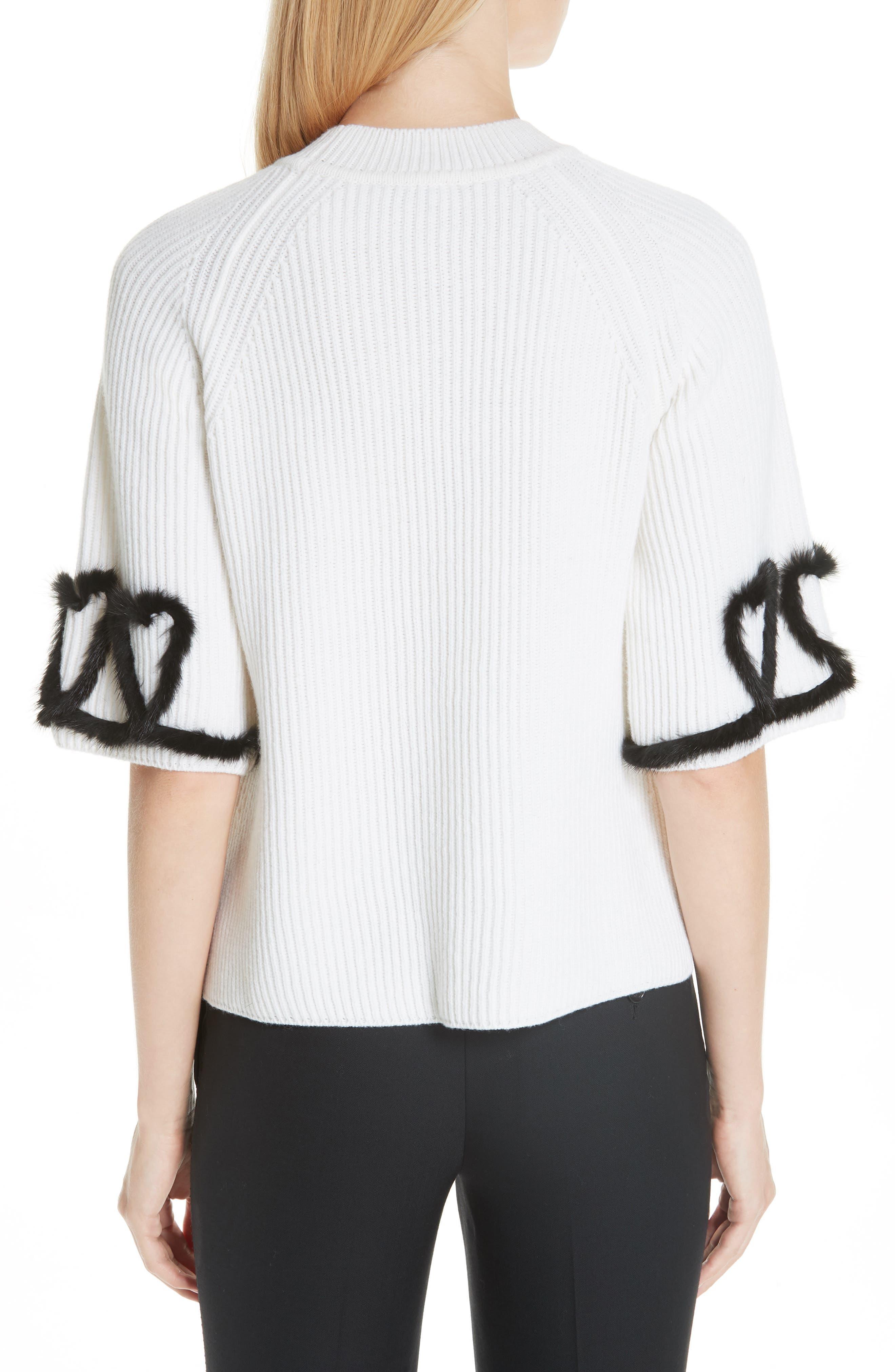 FENDI,                             Scribble Heart Sweater with Genuine Mink Fur Trim,                             Alternate thumbnail 2, color,                             WHITE