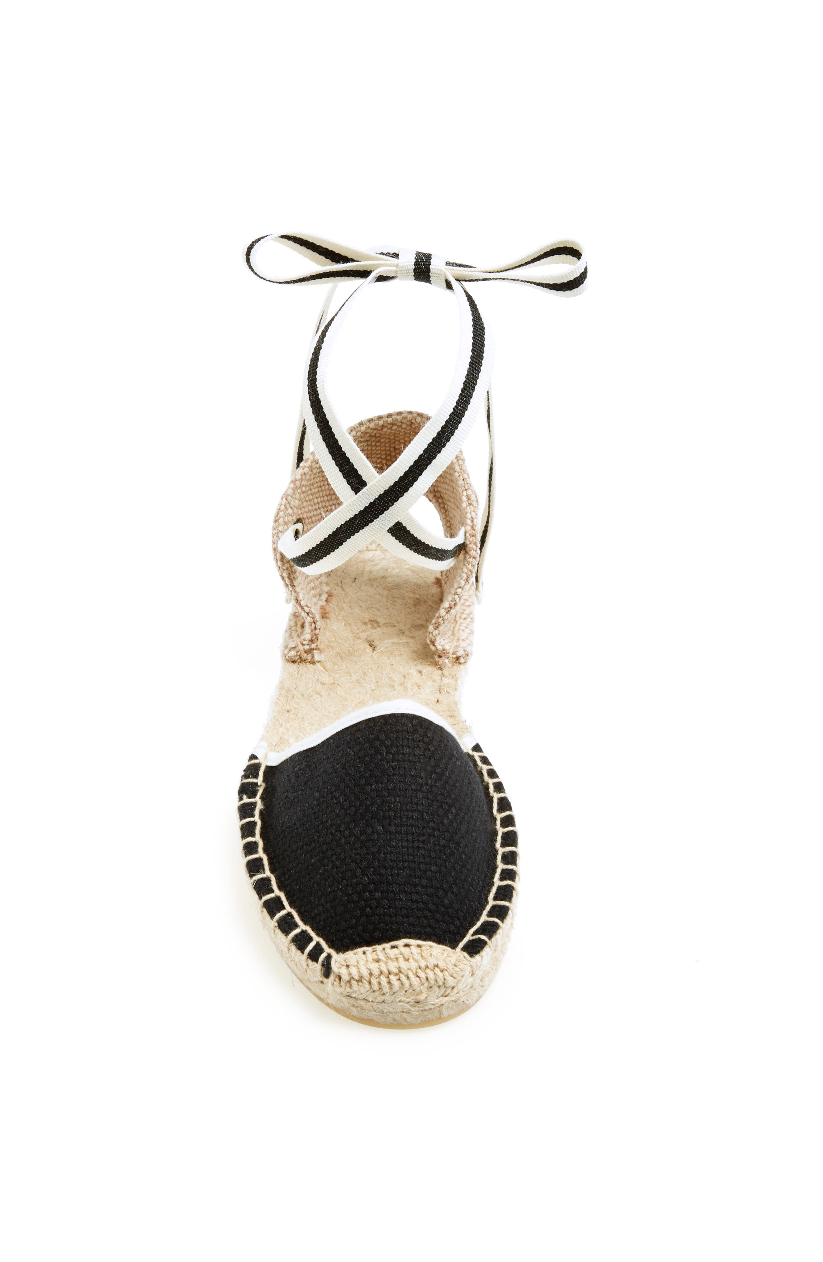 Lace-Up Espadrille Sandal,                             Alternate thumbnail 2, color,                             BLACK LINEN