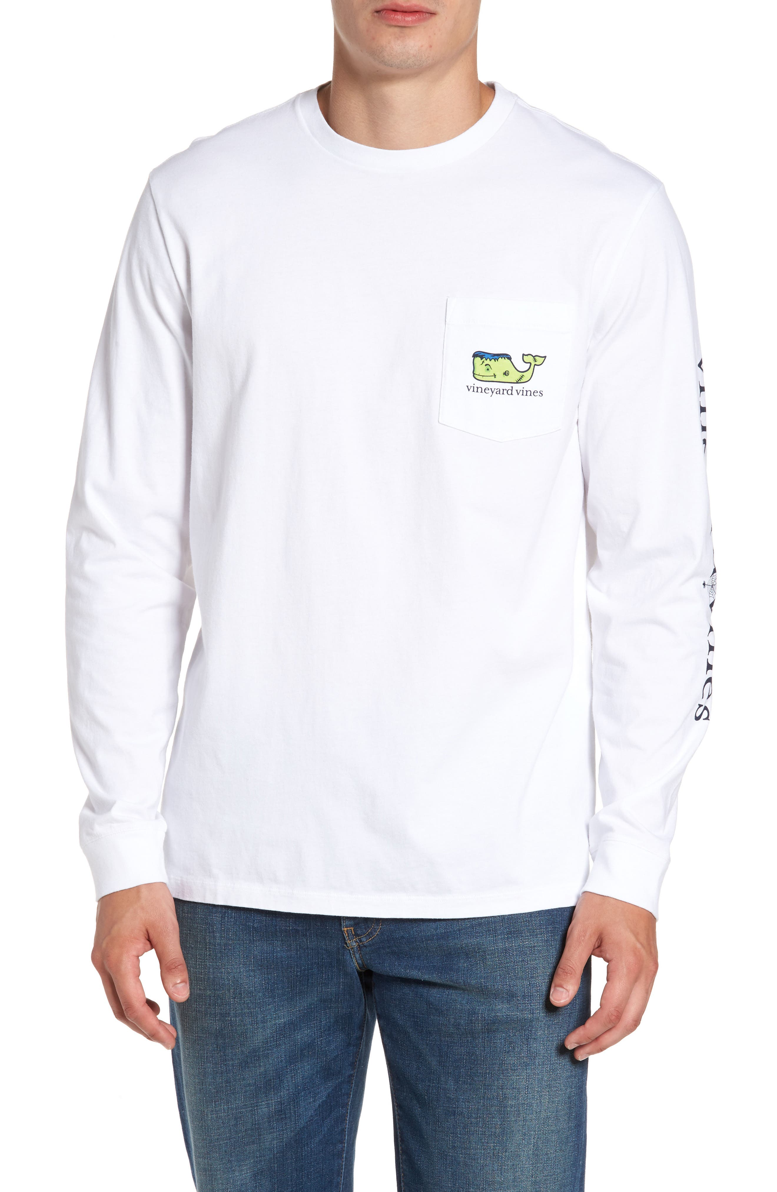 Frankenstein Whale Graphic Long Sleeve T-Shirt,                             Main thumbnail 1, color,                             100