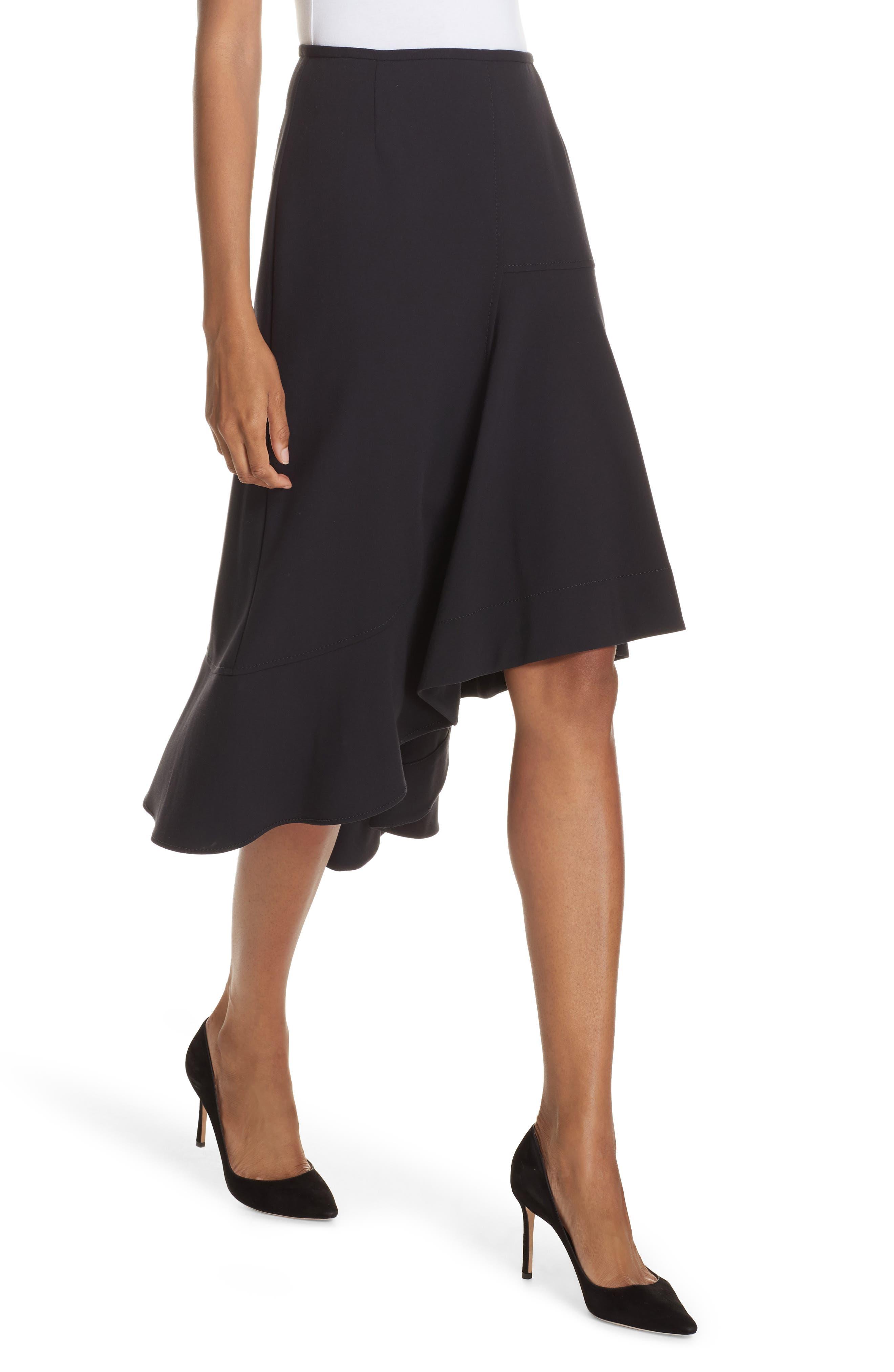Melepia Asymmetrical Faux Wrap Skirt,                             Alternate thumbnail 4, color,                             NAVY