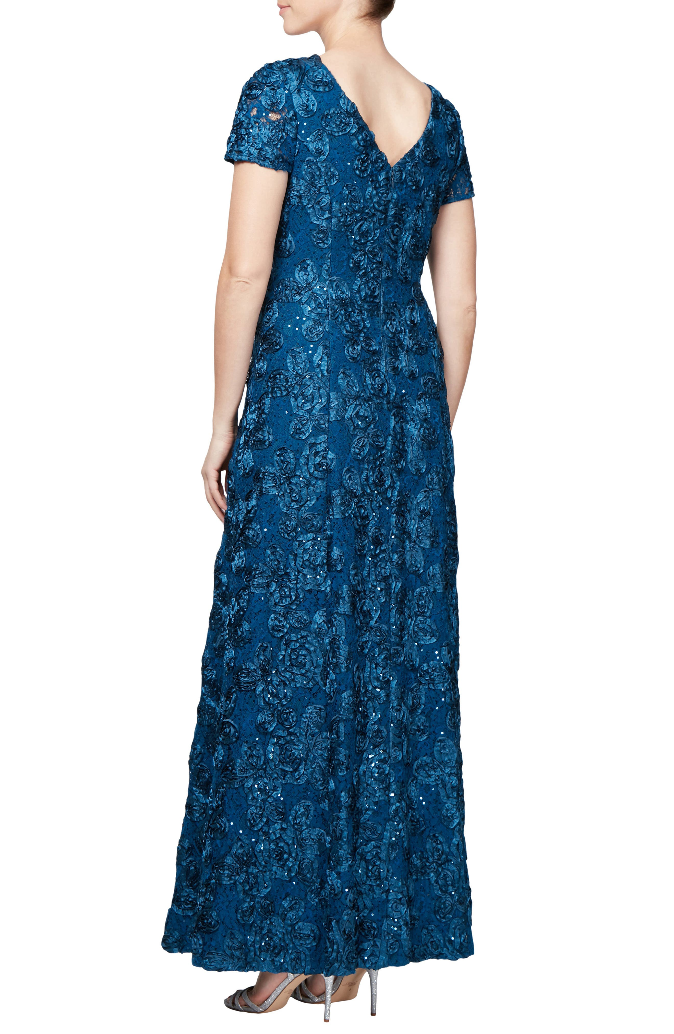 Embellished Lace Gown,                             Alternate thumbnail 2, color,                             PEACOCK