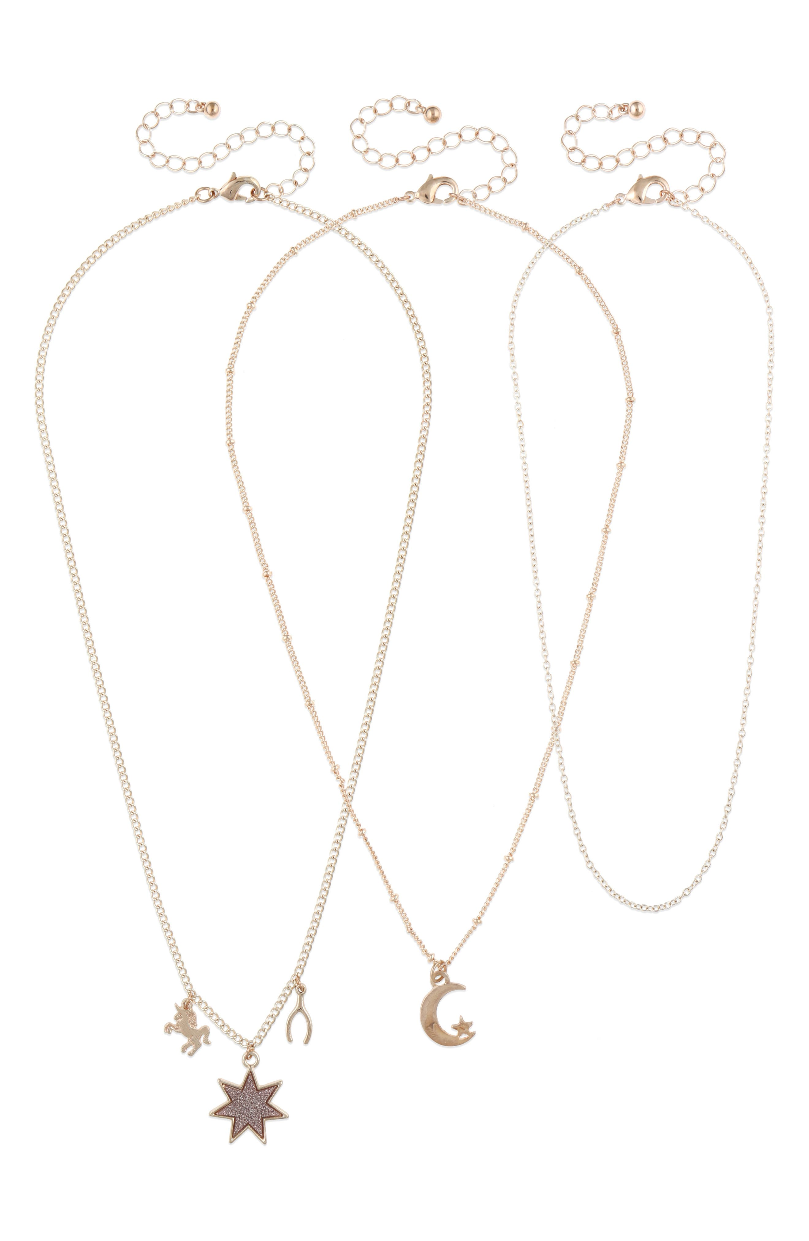 Set of 3 Charm Necklaces,                         Main,                         color, ROSE GOLD