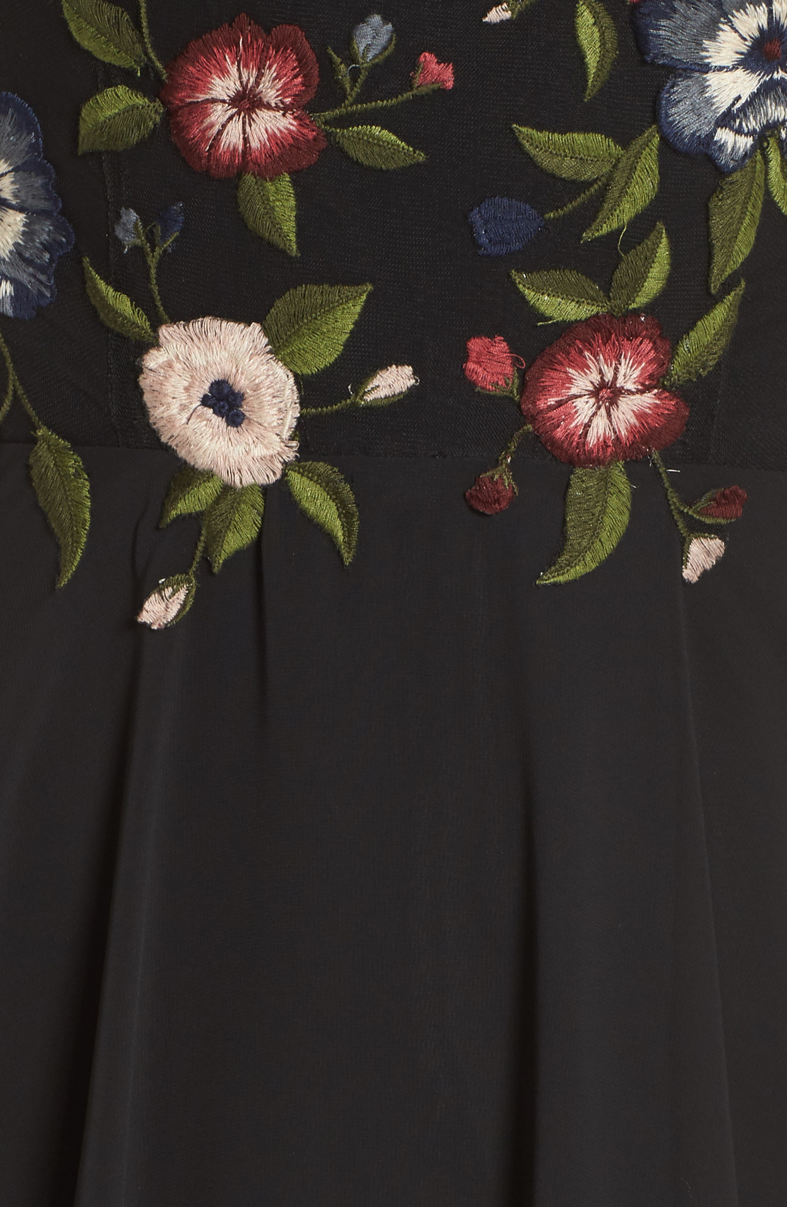 Sophie Embroidered Luxe Chiffon Gown,                             Alternate thumbnail 6, color,                             BLACK MULTI