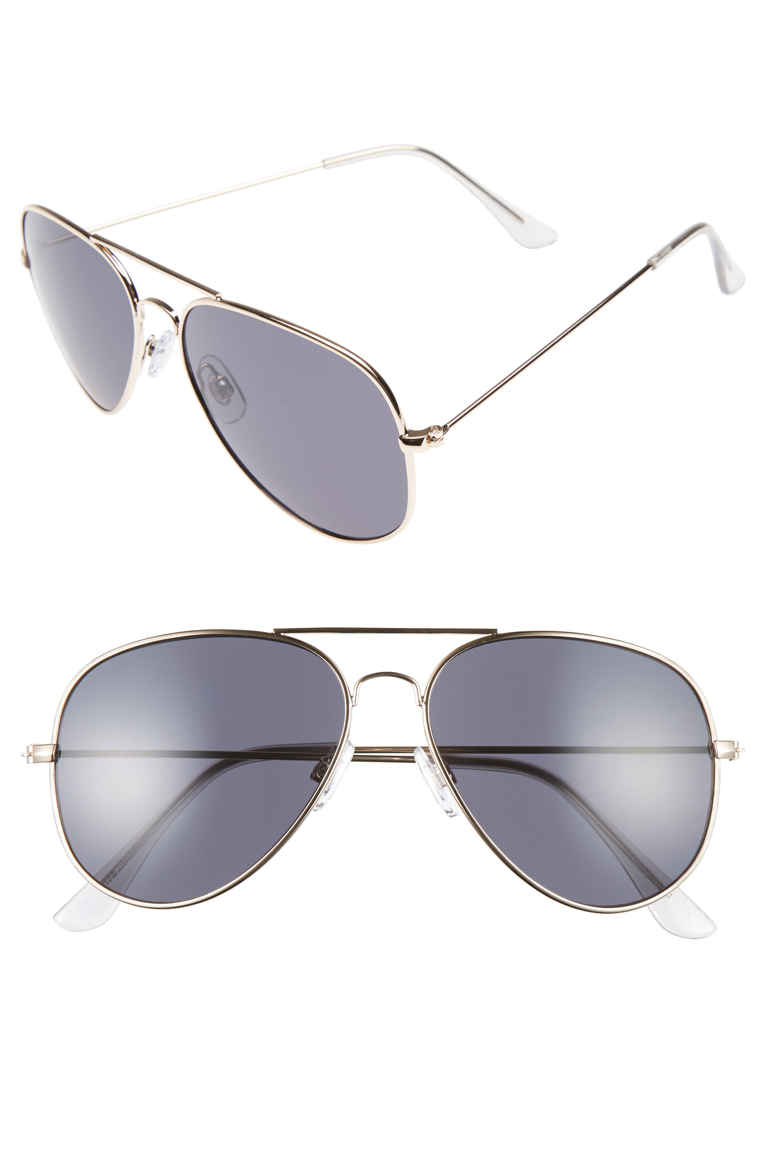 Mirrored Aviator 57mm Sunglasses,                             Main thumbnail 4, color,