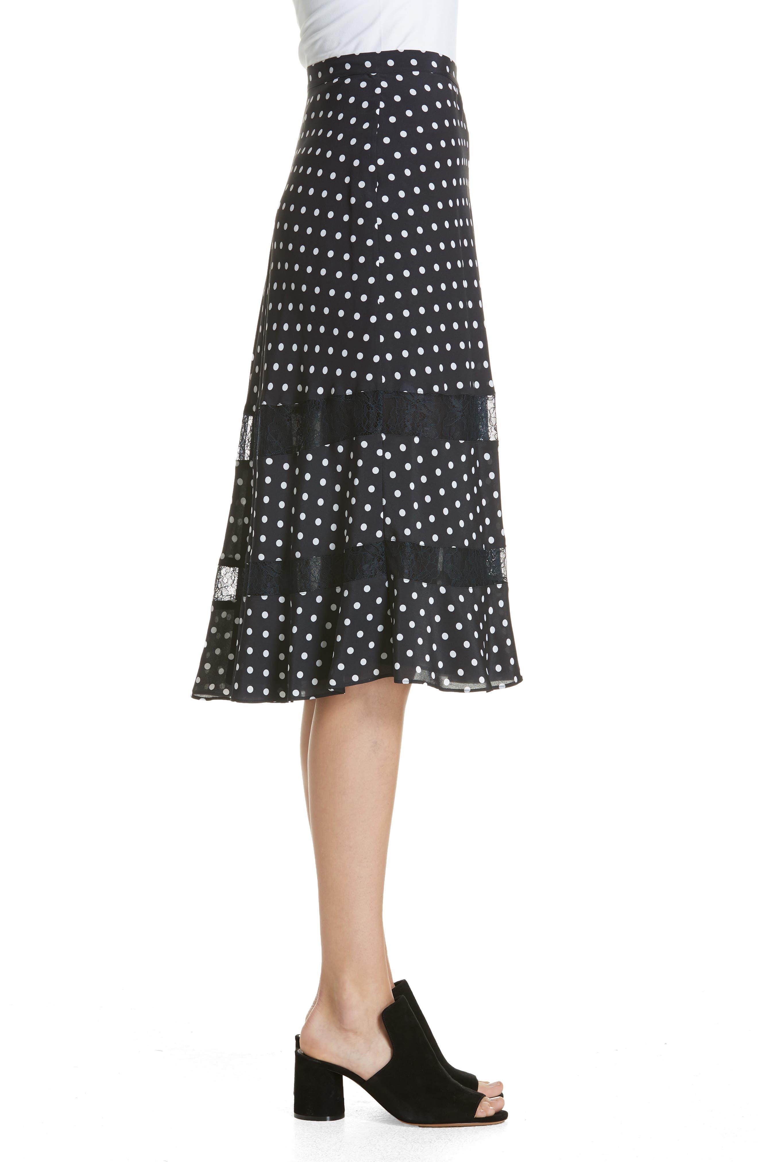 Lace Trim Dot Silk Skirt,                             Alternate thumbnail 3, color,                             NAVY NIGHT PETITE DOT